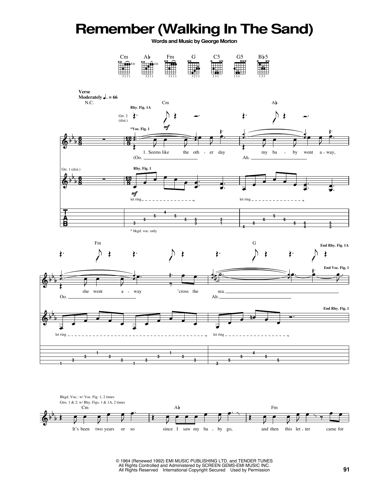 Tablature guitare Remember (Walking In The Sand) de Aerosmith - Tablature Guitare