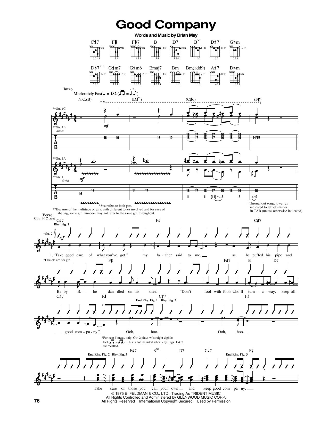 Tablature guitare Good Company de Queen - Tablature Guitare