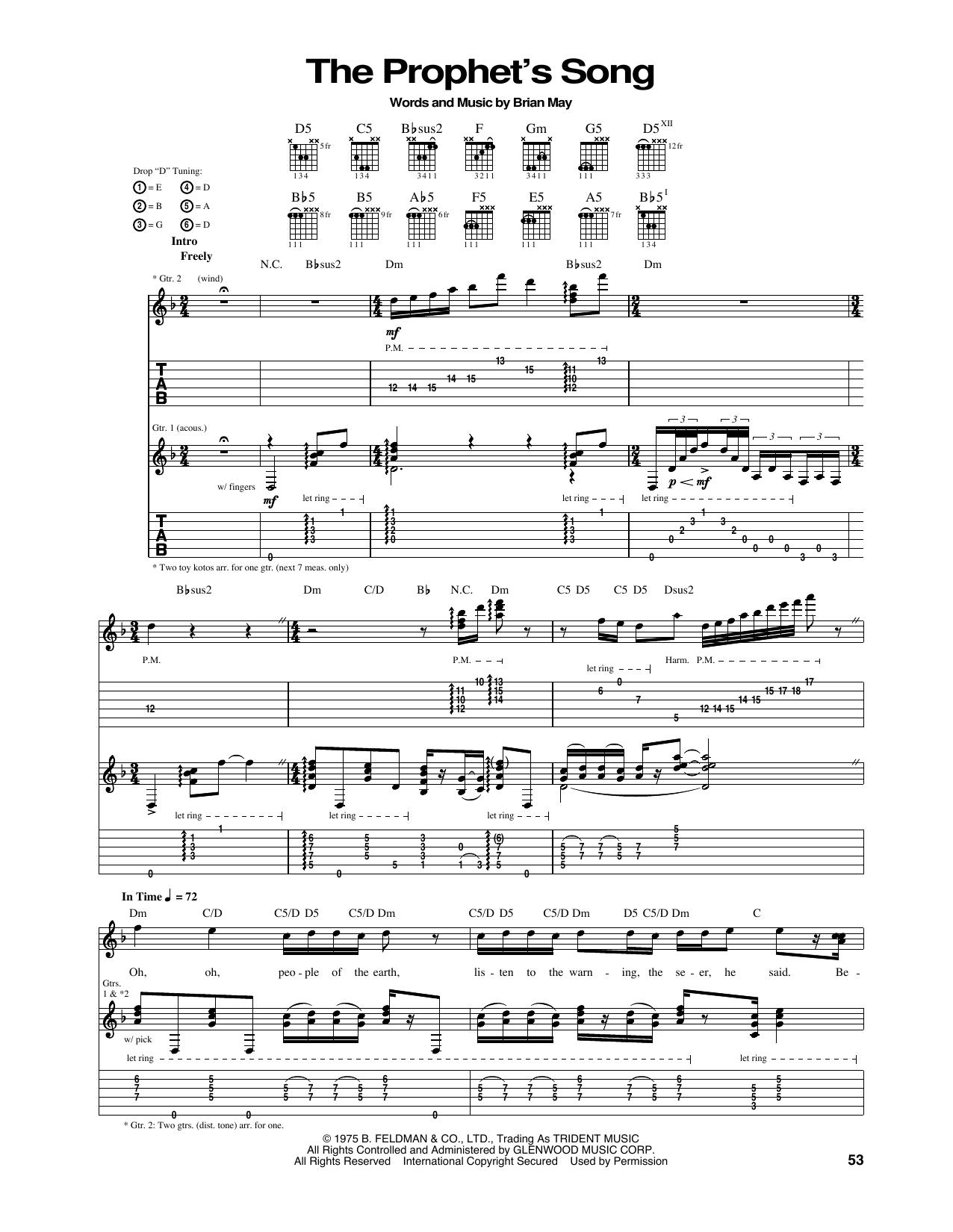 Tablature guitare The Prophet's Song de Queen - Tablature Guitare