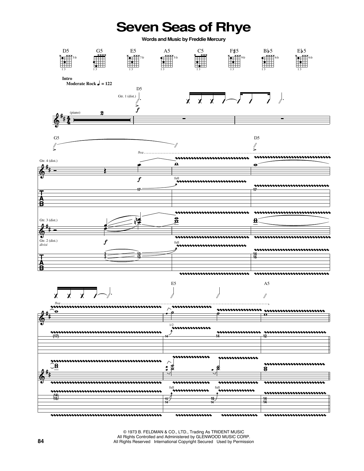 Tablature guitare Seven Seas Of Rhye de Queen - Tablature Guitare