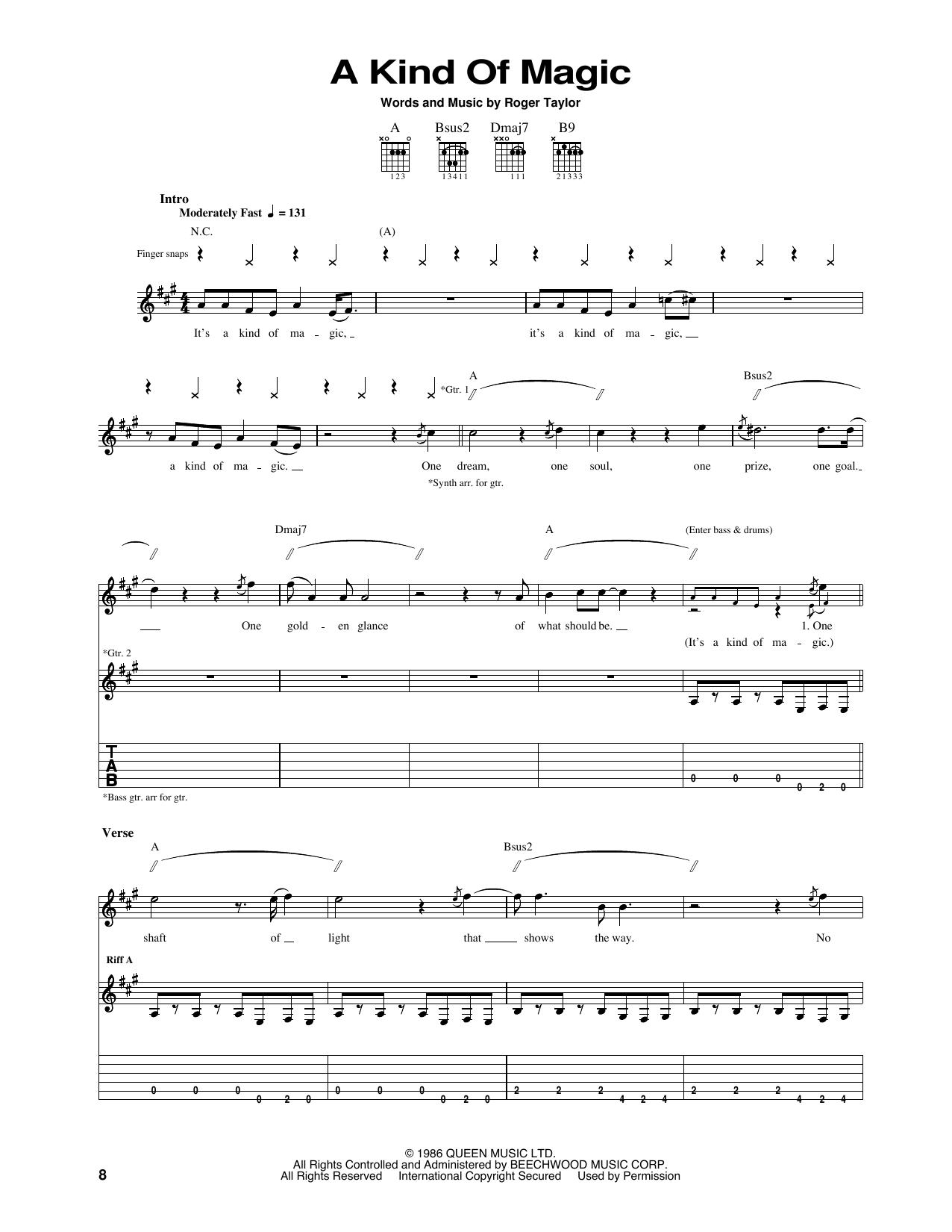 Tablature guitare A Kind Of Magic de Queen - Tablature Guitare