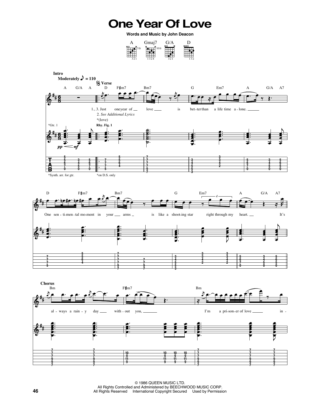 Tablature guitare One Year Of Love de Queen - Tablature Guitare
