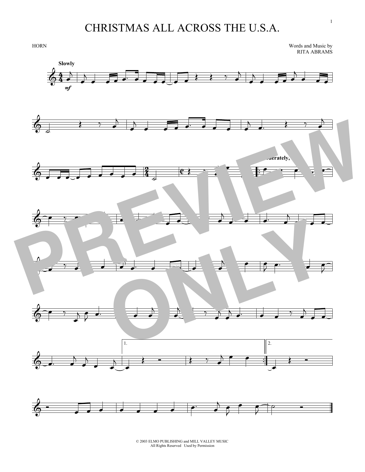 French Horn - Christmas Music at Stanton\'s Sheet Music