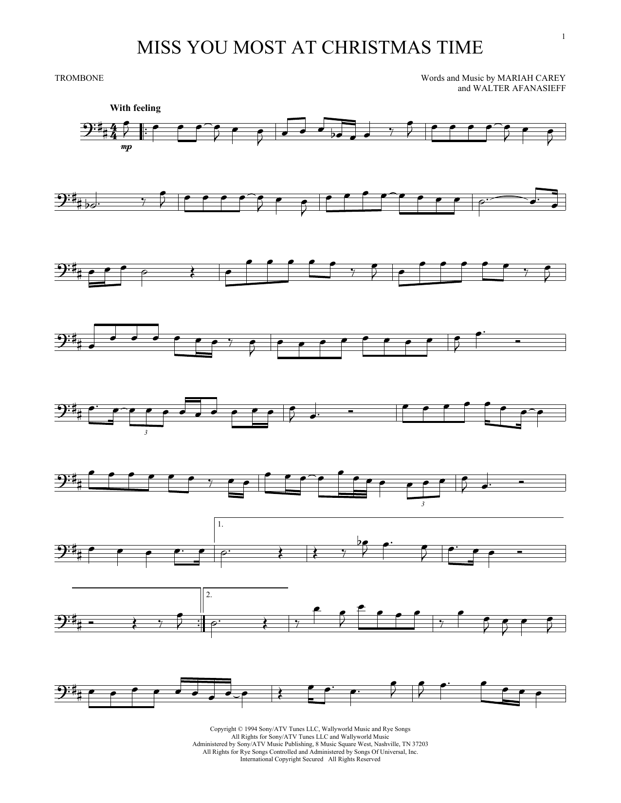 Partition autre Miss You Most At Christmas Time de Mariah Carey - Trombone