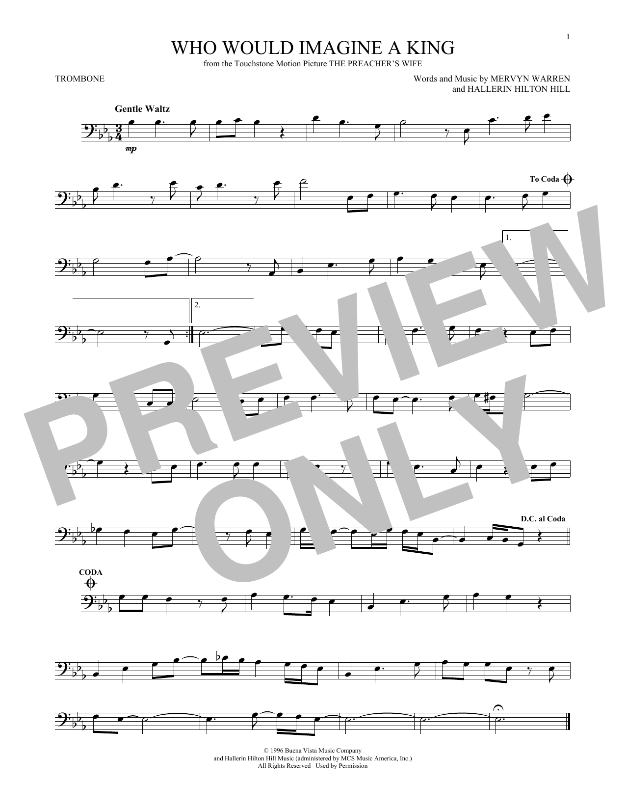 Partition autre Who Would Imagine A King de Whitney Houston - Trombone