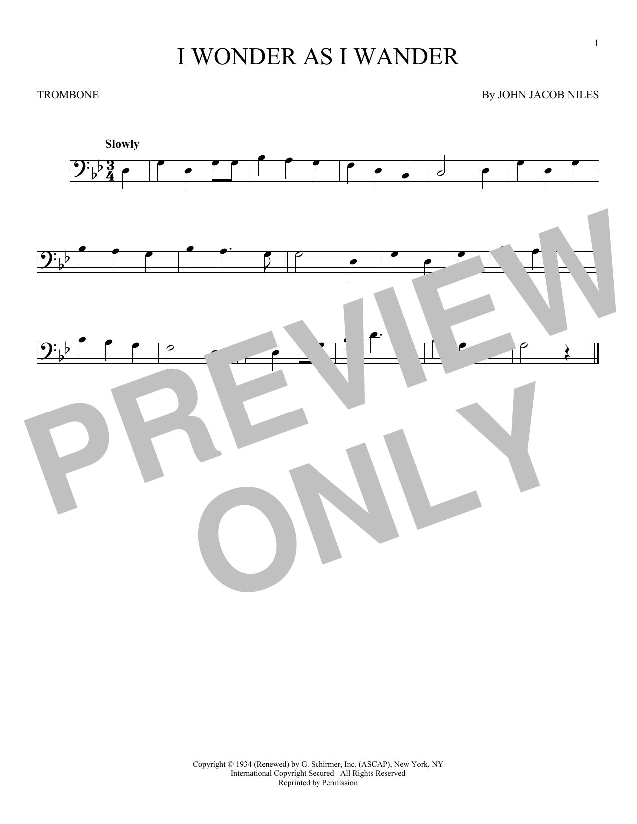 Partition autre I Wonder As I Wander de John Jacob Niles - Trombone