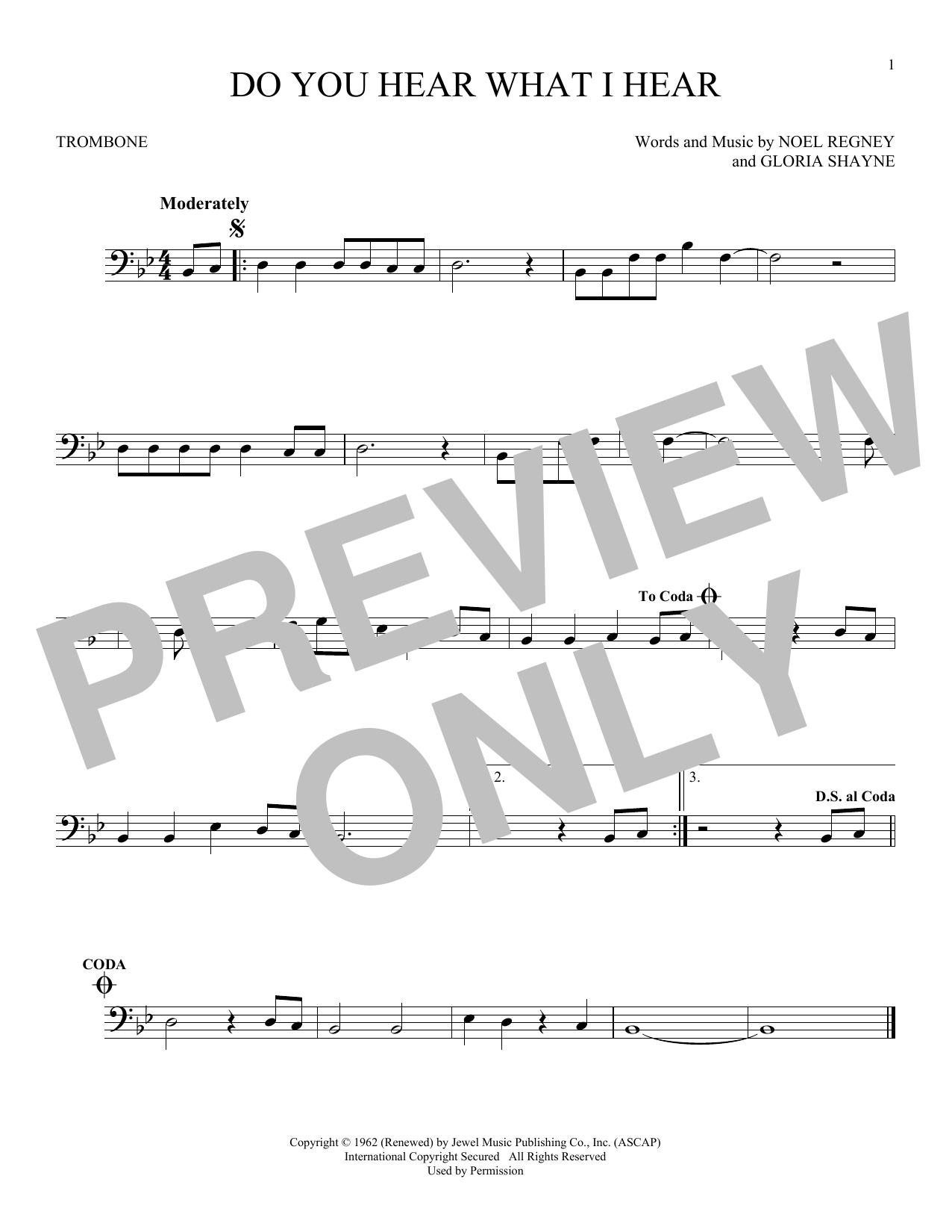 Partition autre Do You Hear What I Hear de Noel Regney & Gloria Shayne - Trombone