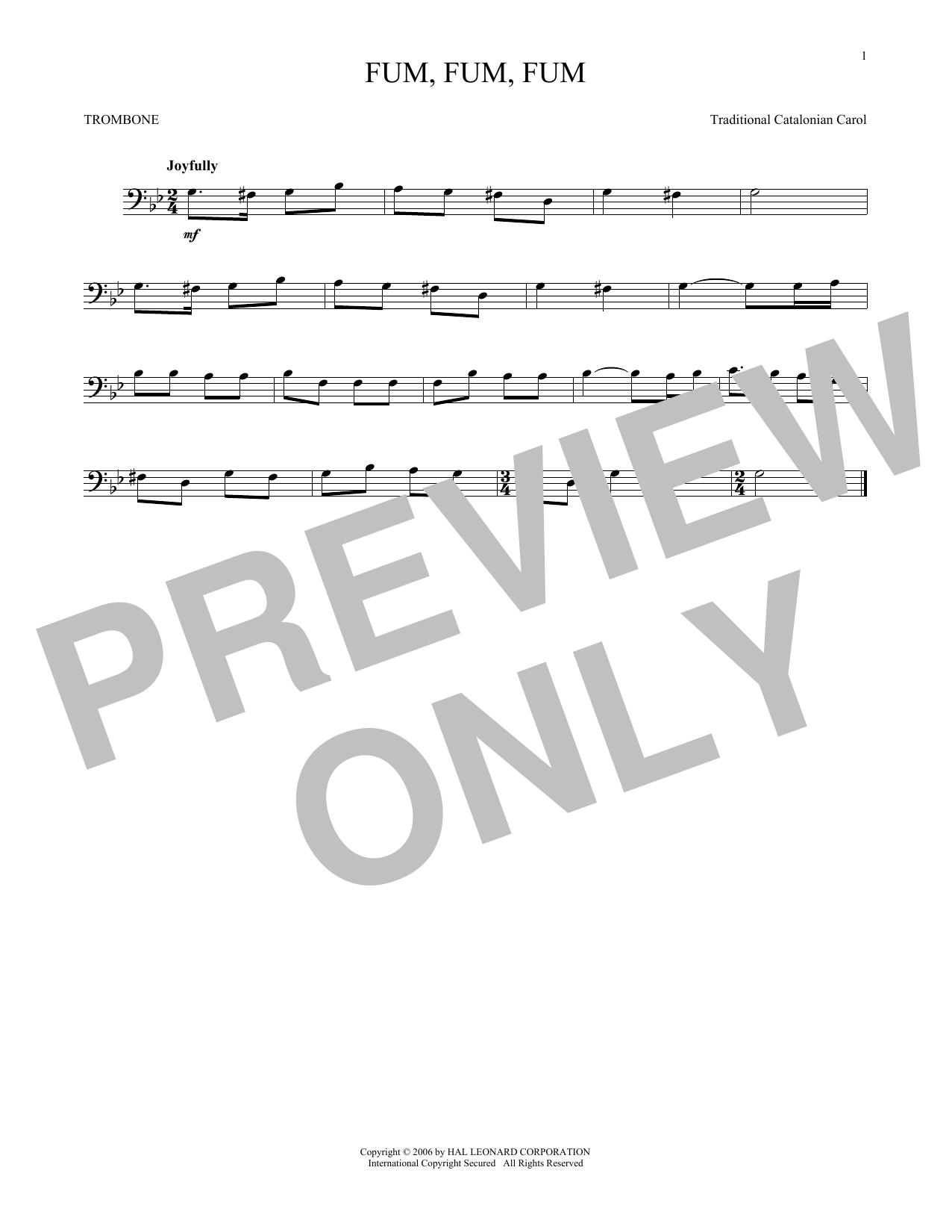 Partition autre Fum, Fum, Fum de Traditional Catalonian Carol - Trombone