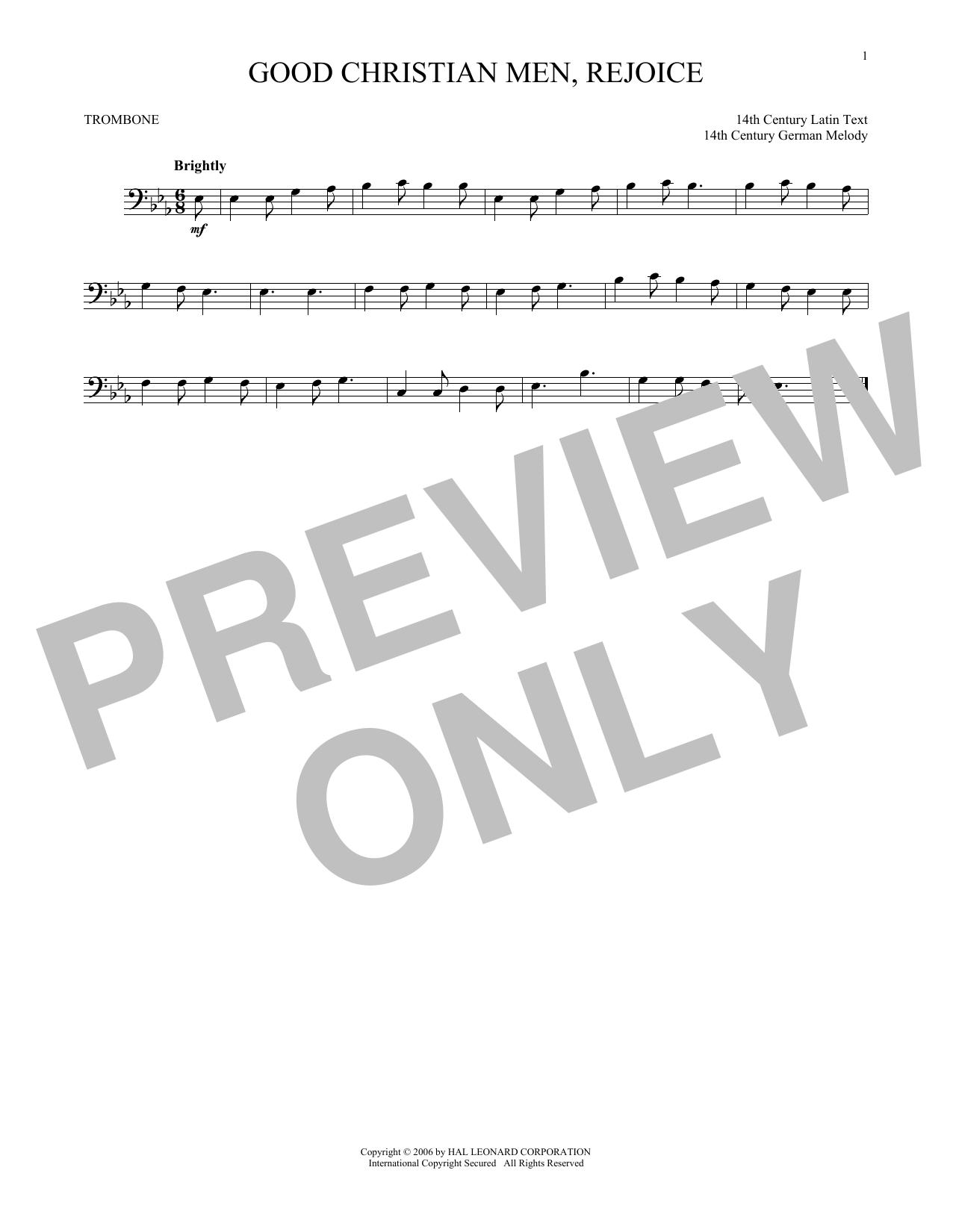 Partition autre Good Christian Men, Rejoice de Christmas Carol - Trombone