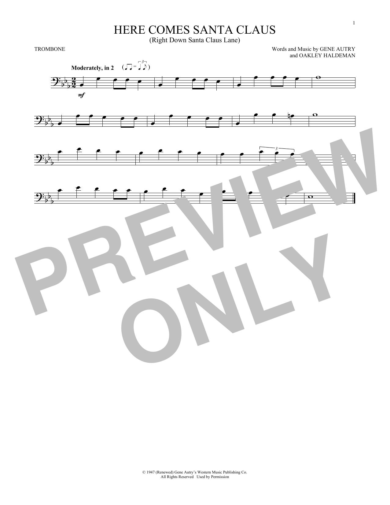 Partition autre Here Comes Santa Claus (Right Down Santa Claus Lane) de Gene Autry - Trombone