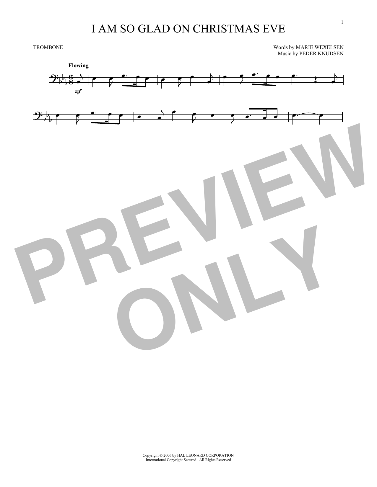 Partition autre I Am So Glad On Christmas Eve de Peder Knudsen - Trombone
