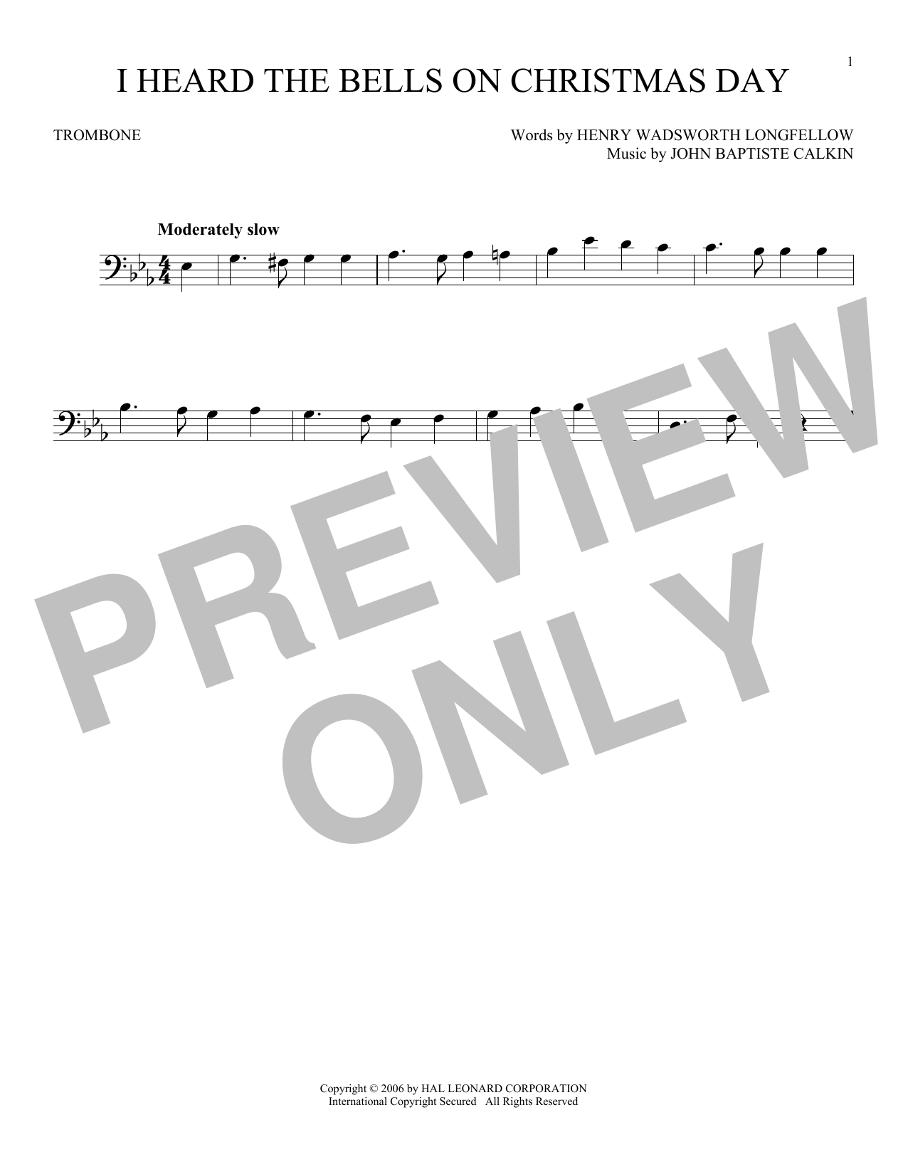 Partition autre I Heard The Bells On Christmas Day de Johnny Marks - Trombone