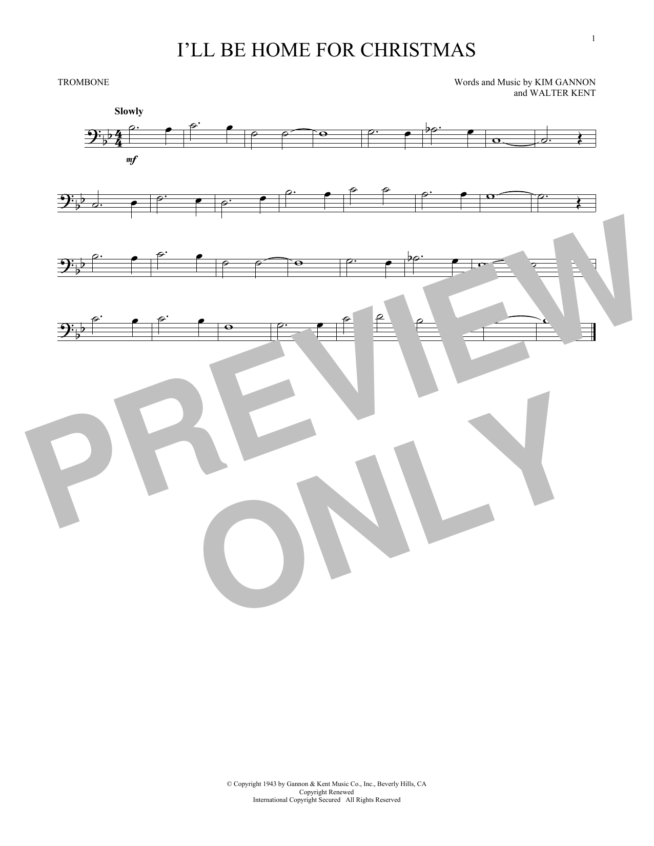 Partition autre I'll Be Home For Christmas de Bing Crosby - Trombone