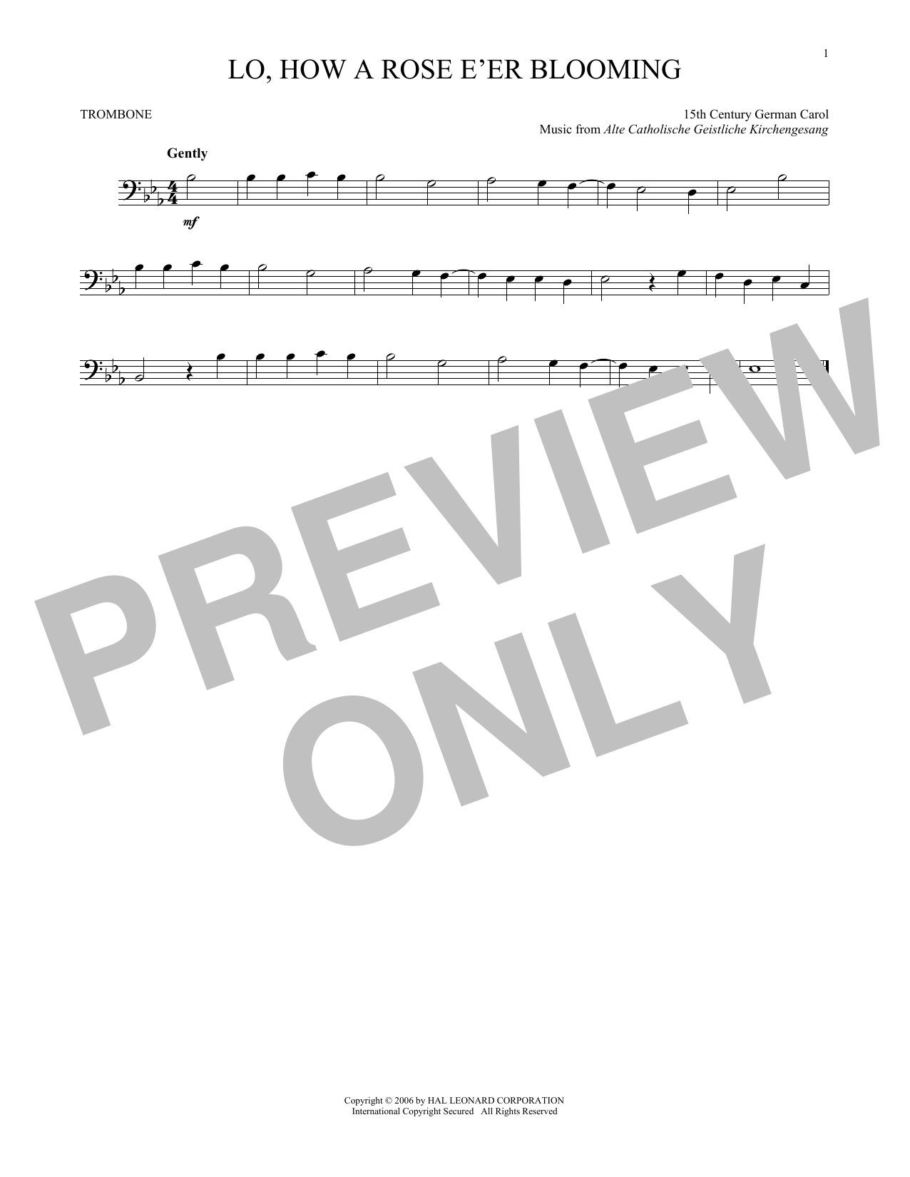 Partition autre Lo, How A Rose E'er Blooming de Traditional Carol - Trombone