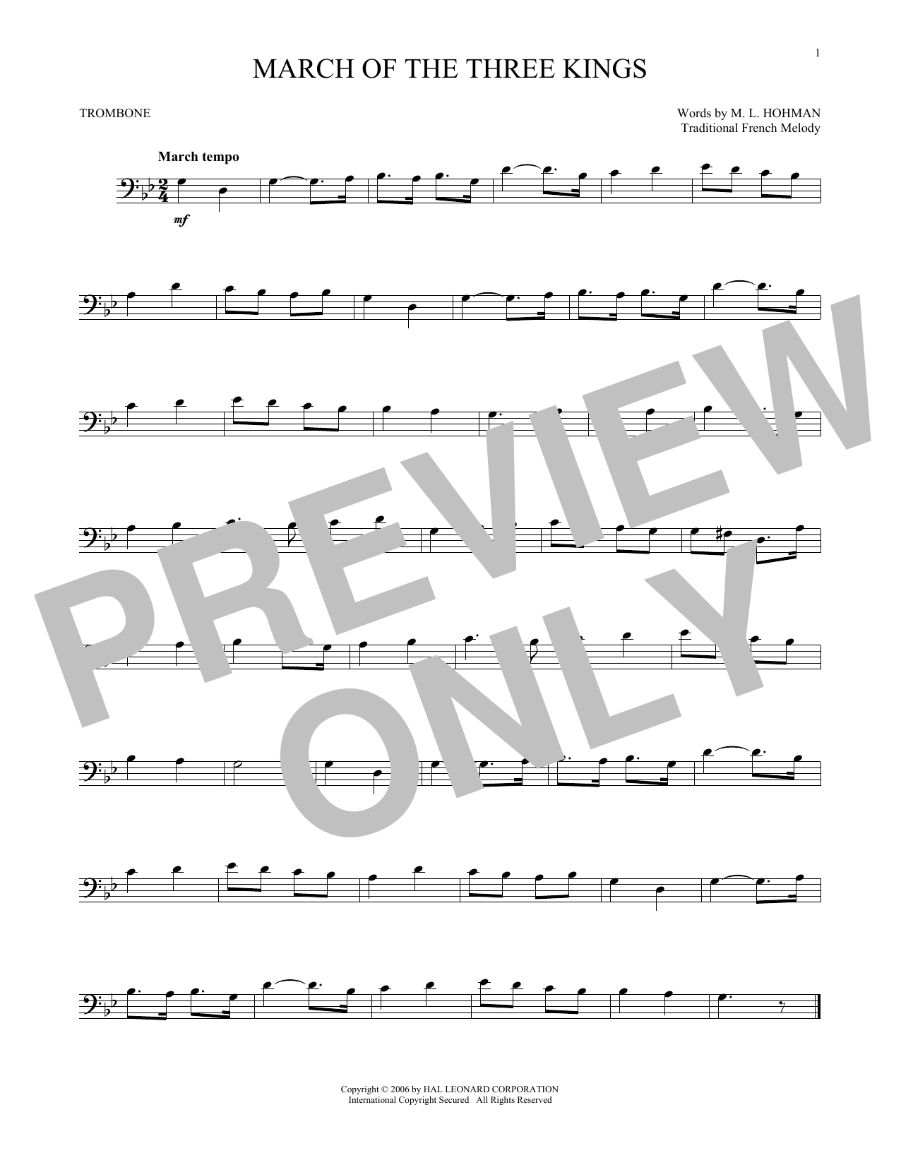 Partition autre March Of The Three Kings de Traditional - Trombone