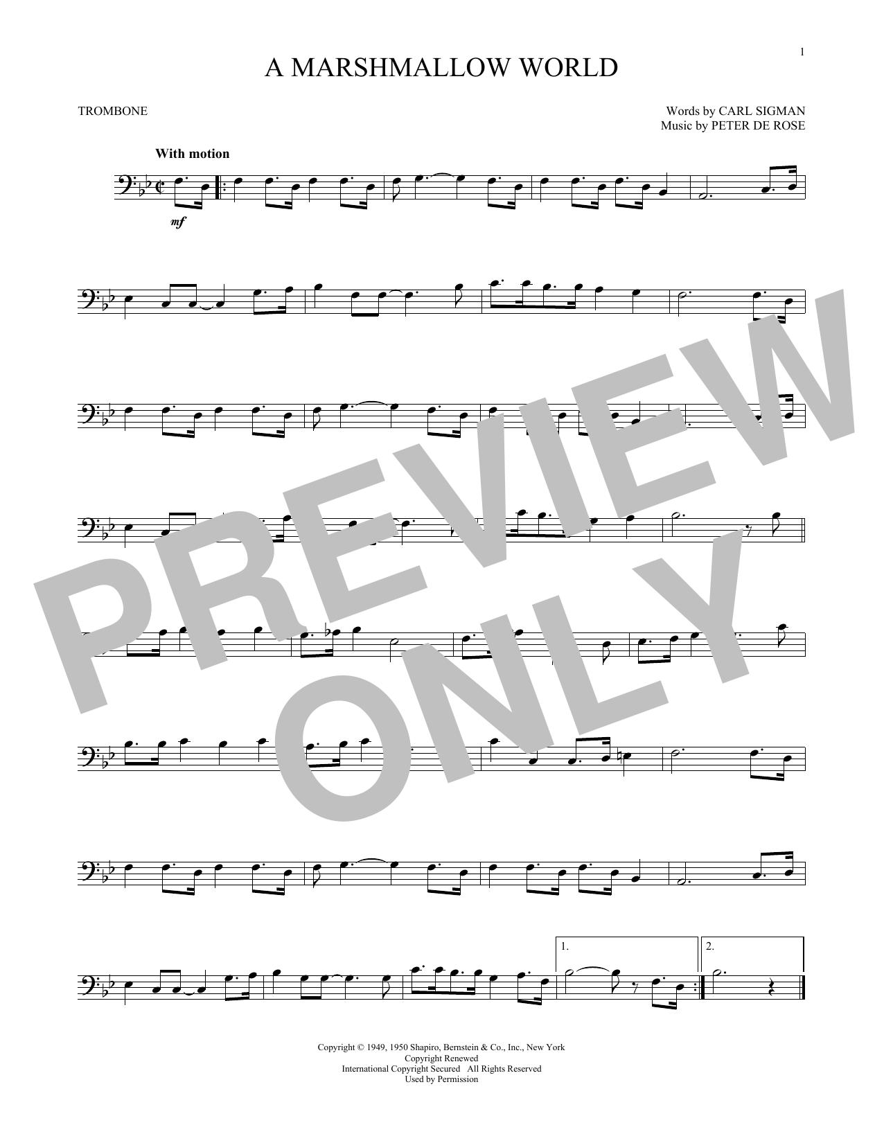 Partition autre A Marshmallow World de Carl Sigman - Trombone