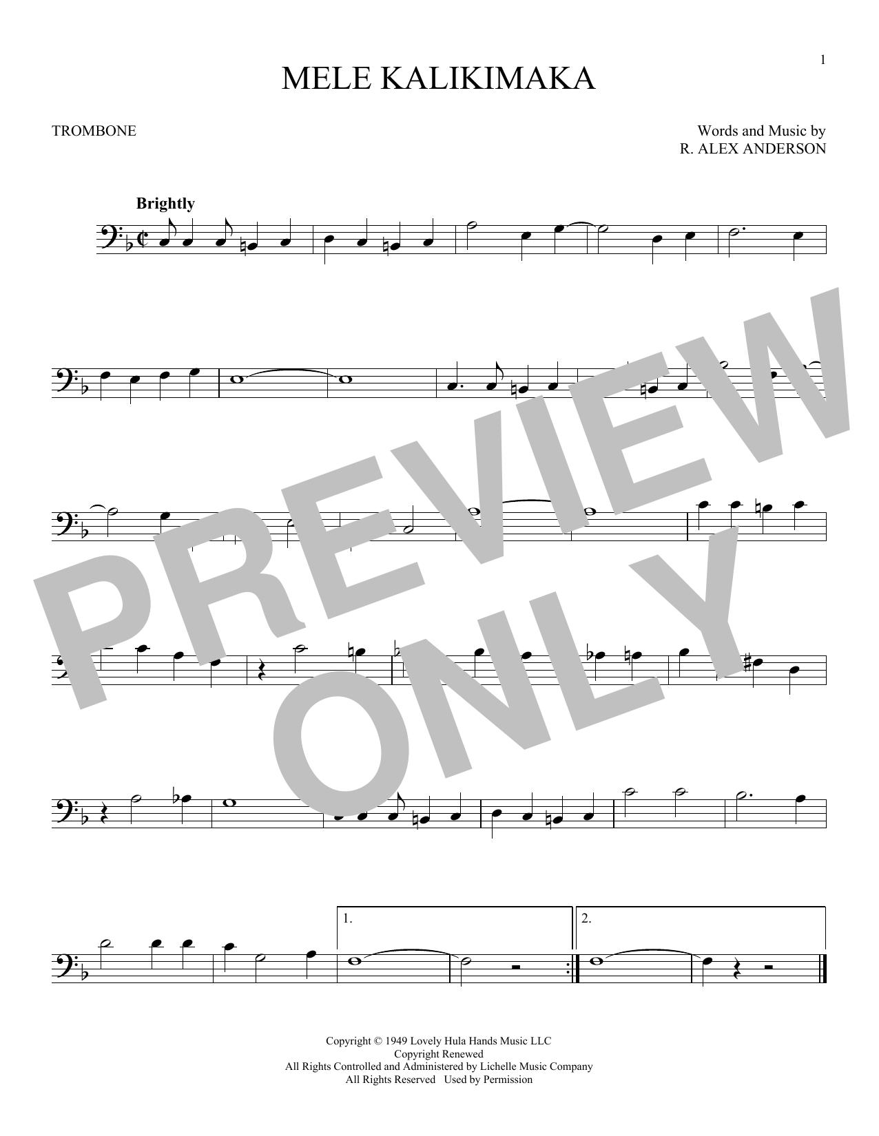 Partition autre Mele Kalikimaka de Bing Crosby - Trombone