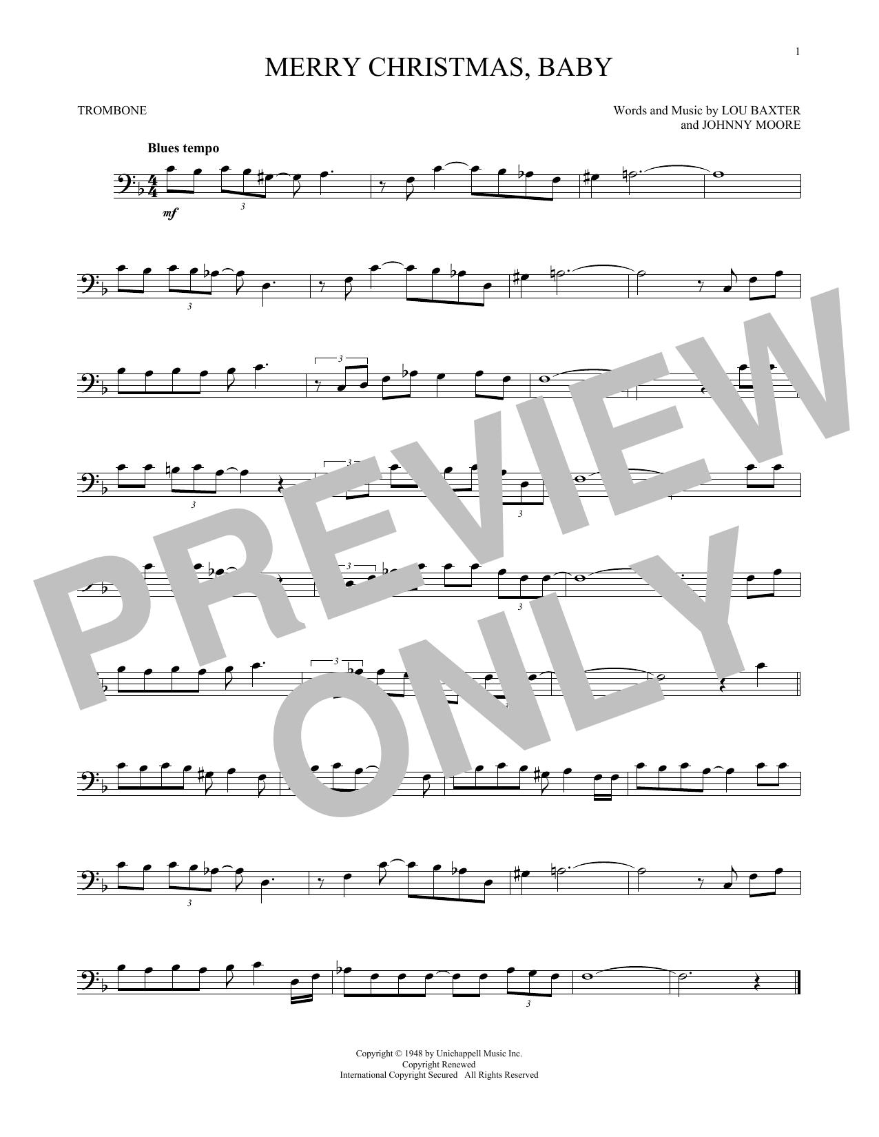 Partition autre Merry Christmas, Baby de Elvis Presley - Trombone