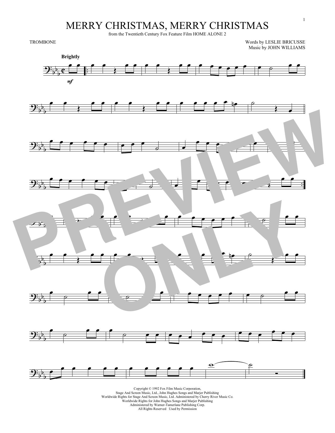 Partition autre Merry Christmas, Merry Christmas de John Williams - Trombone
