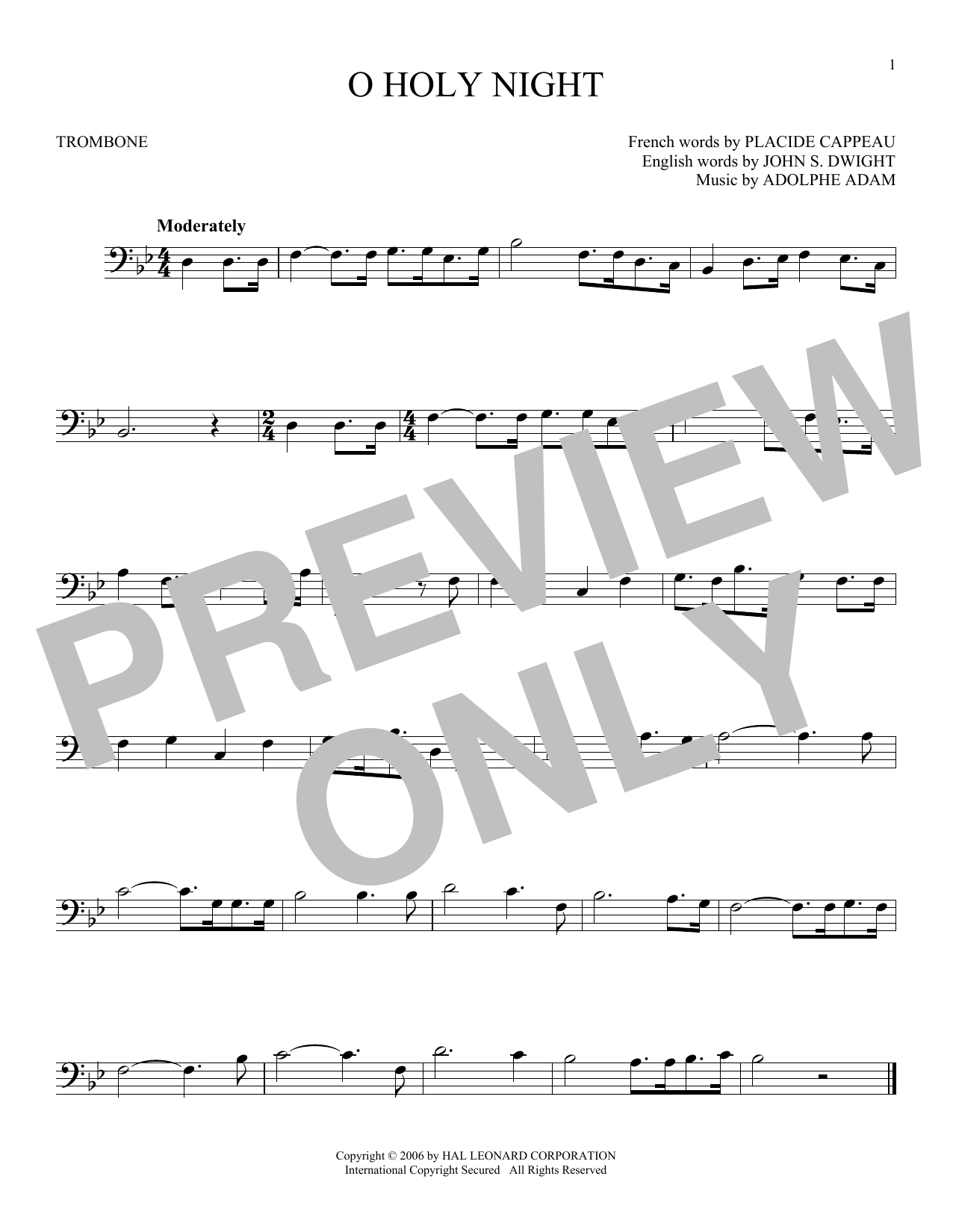 Partition autre O Holy Night de Adolphe Adam - Trombone