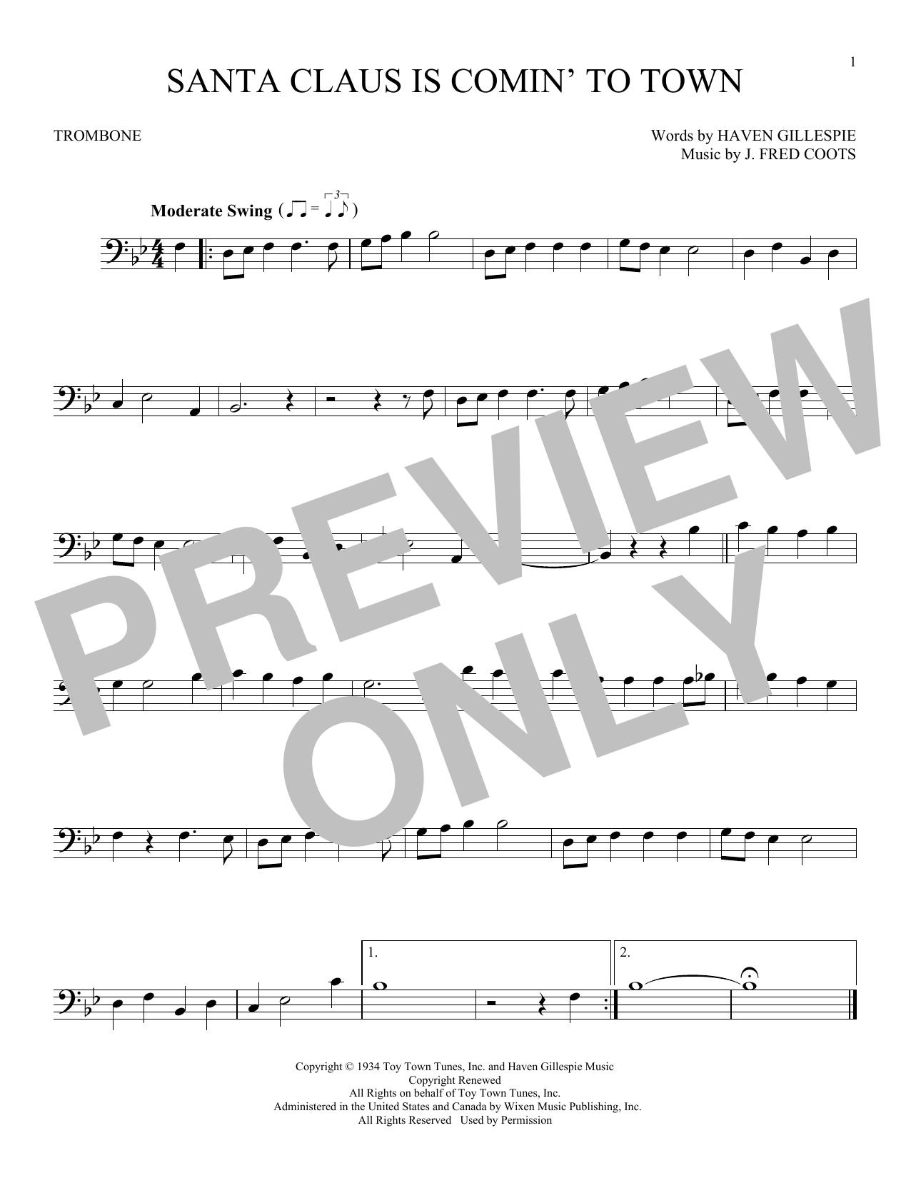 Partition autre Santa Claus Is Comin' To Town de J. Fred Coots - Trombone