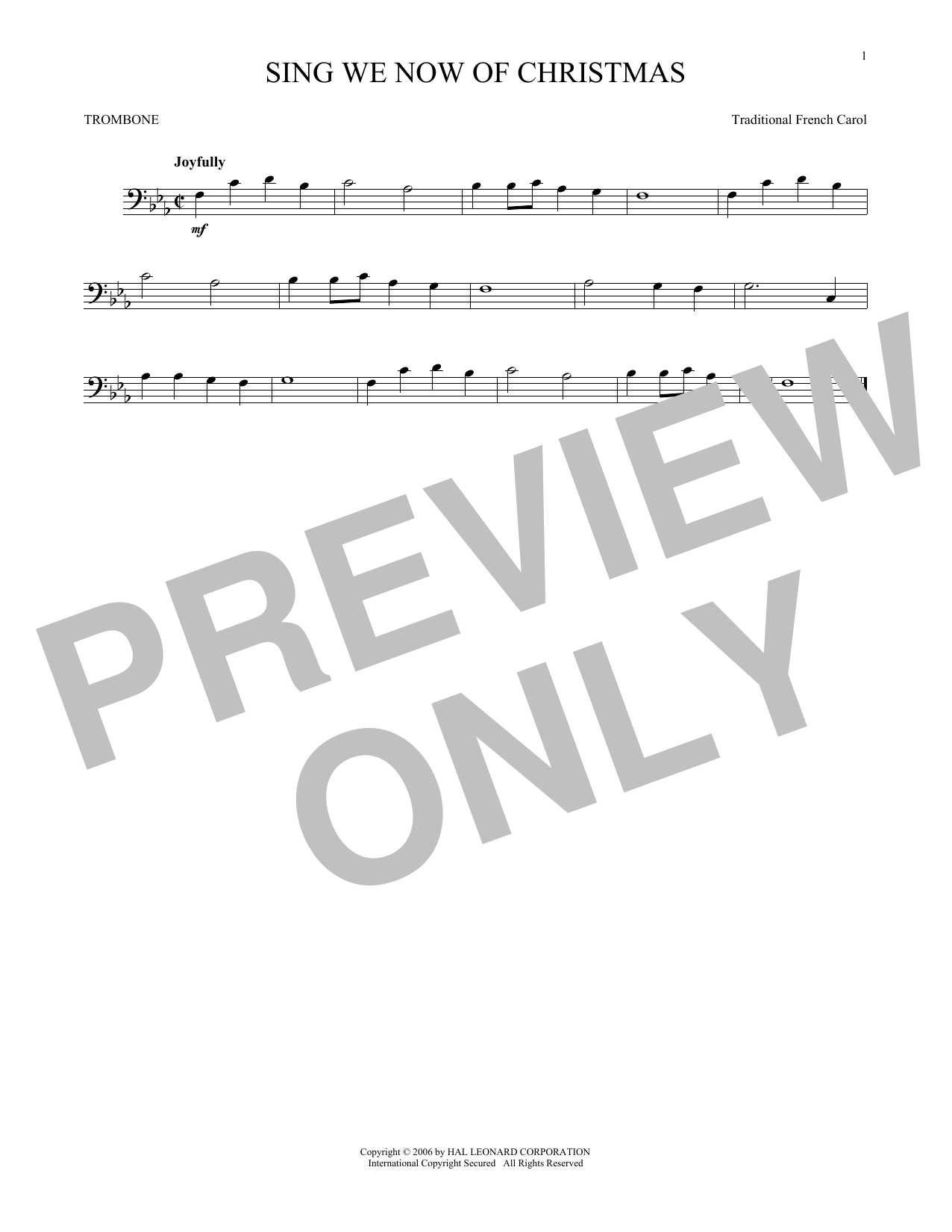 Partition autre Sing We Now Of Christmas de Traditional French Carol - Trombone