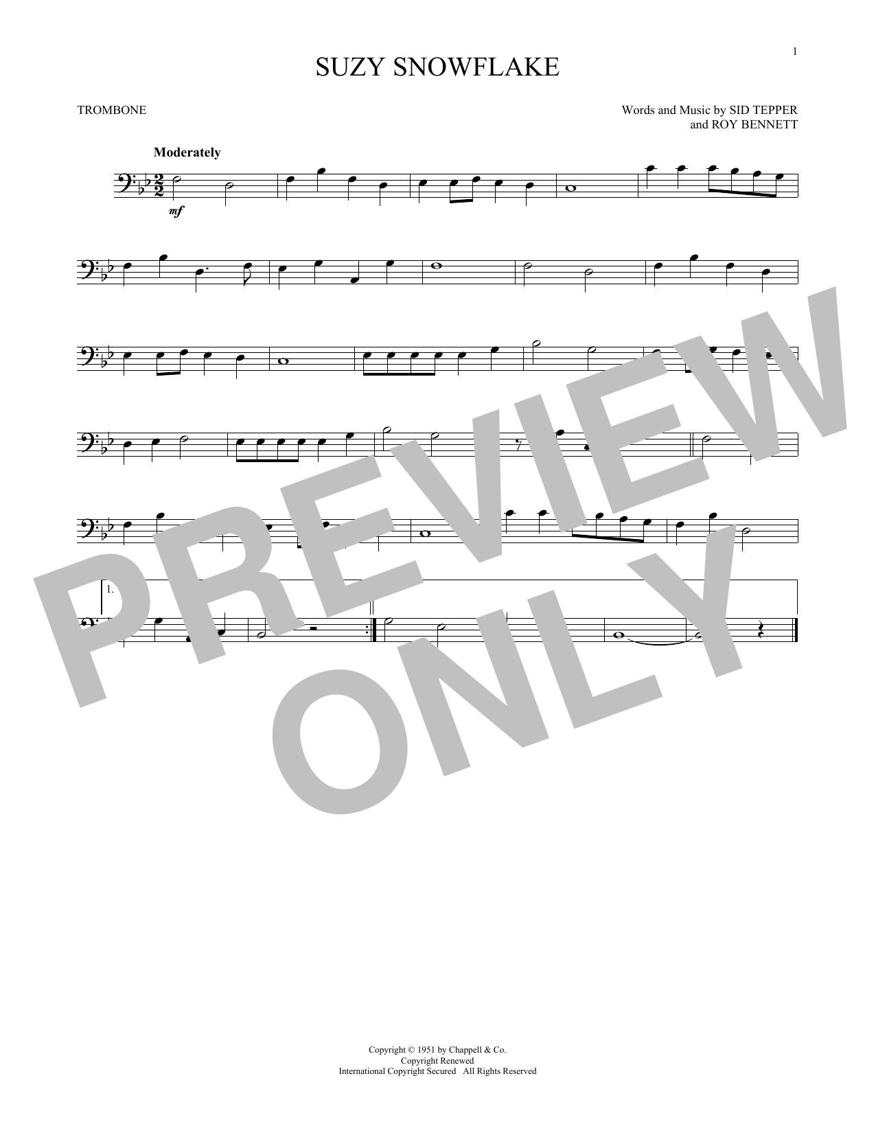 Partition autre Suzy Snowflake de Sid Tepper and Roy Bennett - Trombone