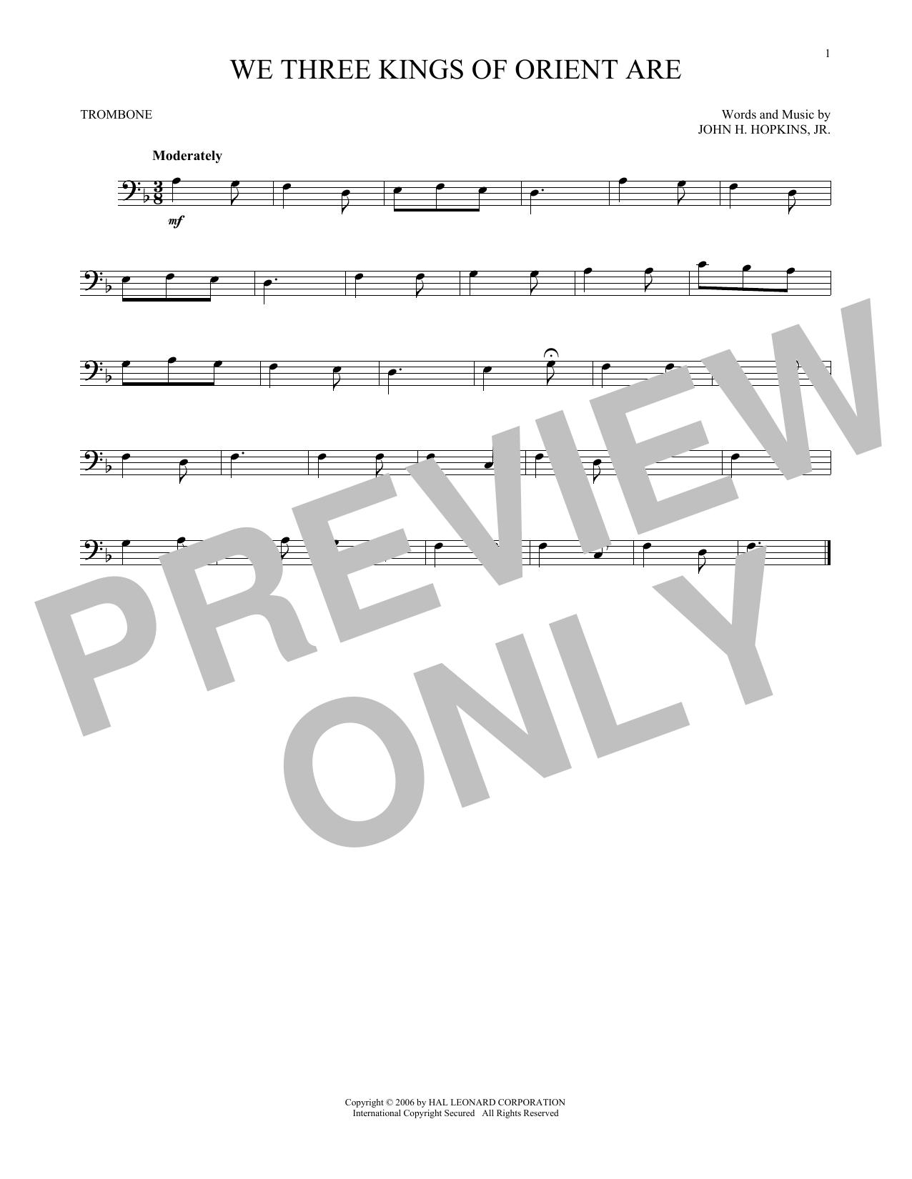 Partition autre We Three Kings Of Orient Are de John H. Hopkins, Jr. - Trombone