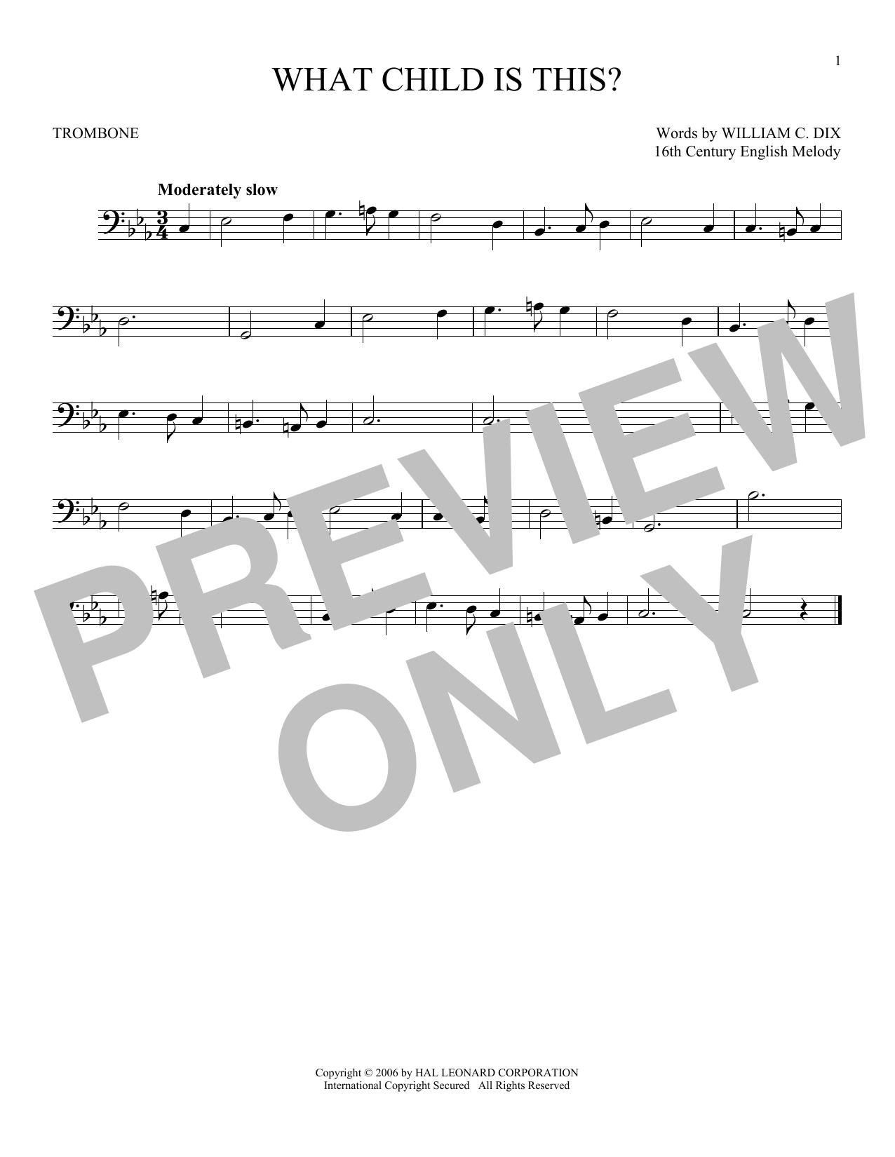 Partition autre What Child Is This? de William C. Dix - Trombone