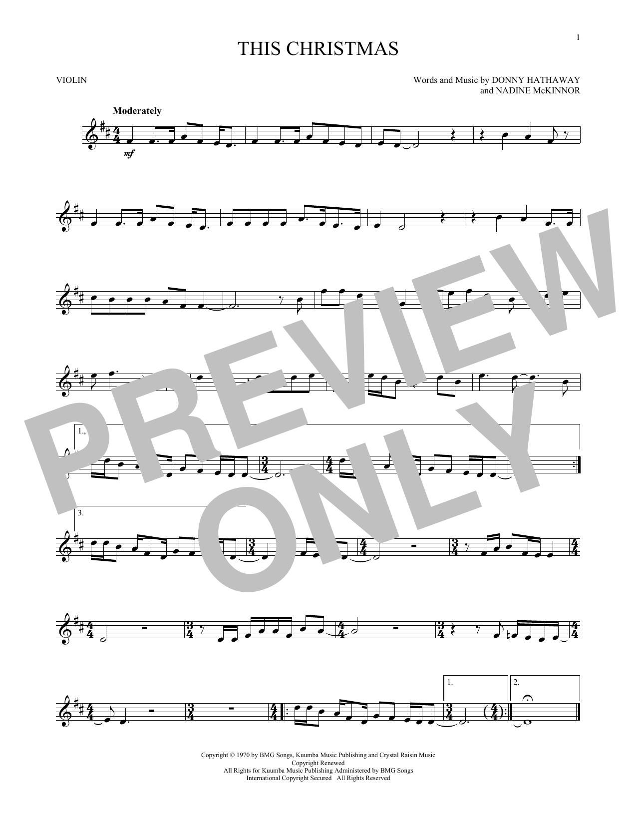 Partition autre This Christmas de Donny Hathaway - Violon