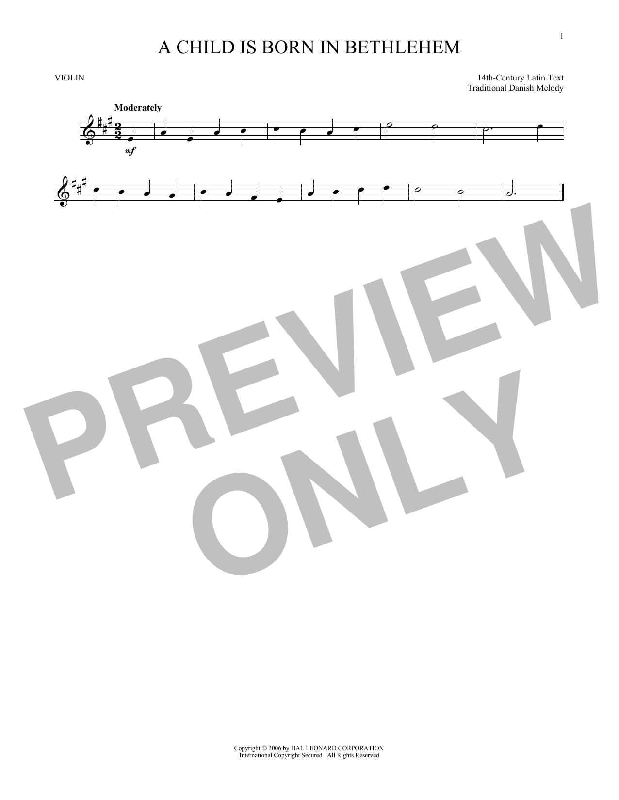 Partition autre A Child Is Born In Bethlehem de Traditional Danish Melody - Violon
