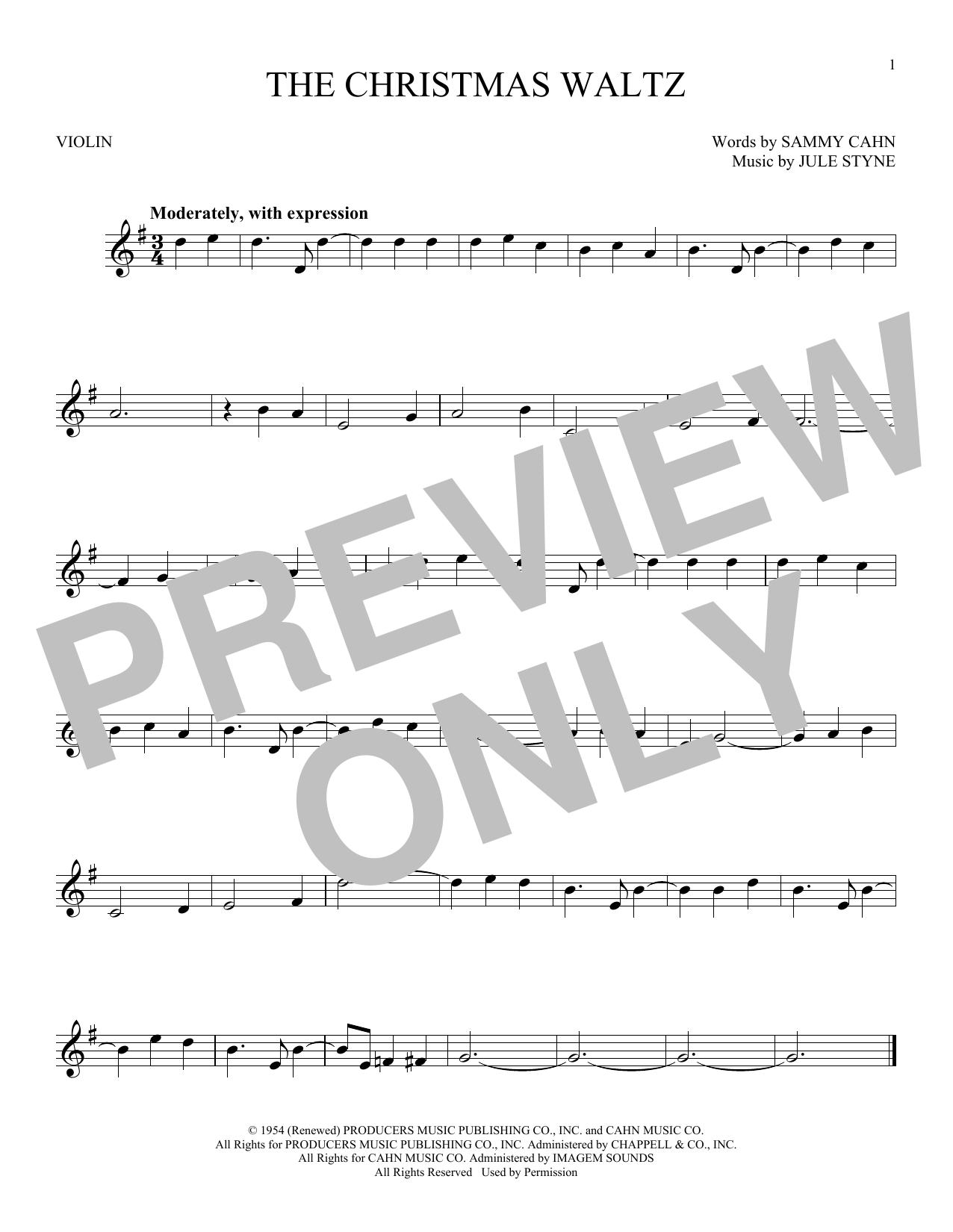 Partition autre The Christmas Waltz de Frank Sinatra - Violon