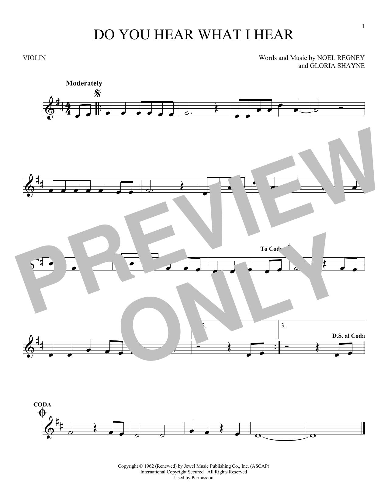 Partition autre Do You Hear What I Hear de Noel Regney & Gloria Shayne - Violon