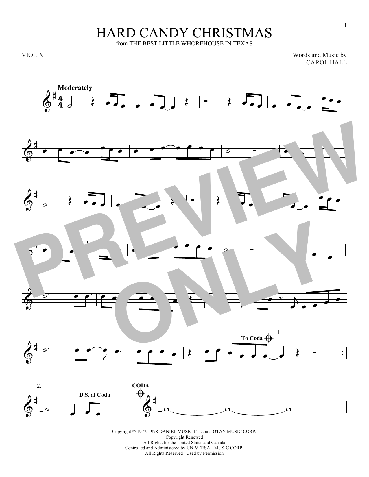 Partition autre Hard Candy Christmas de Dolly Parton - Violon