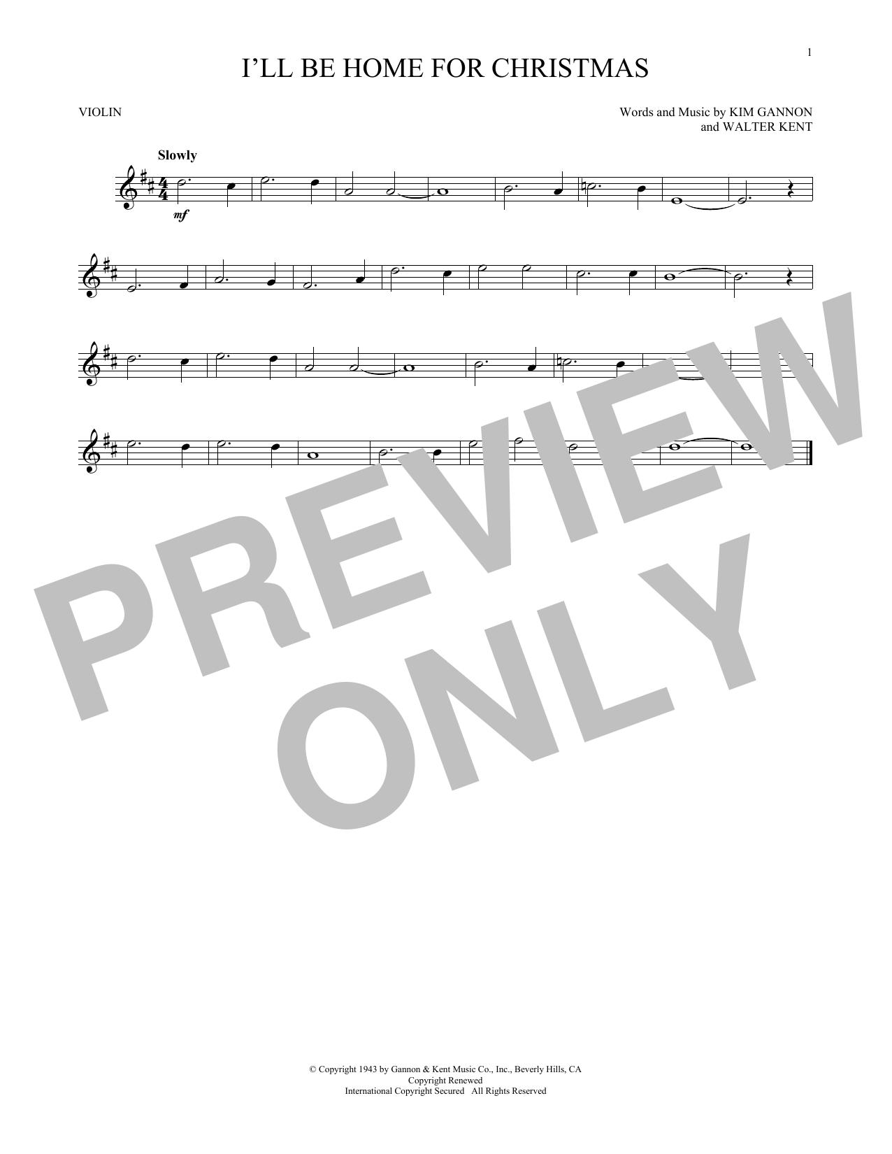Partition autre I'll Be Home For Christmas de Bing Crosby - Violon
