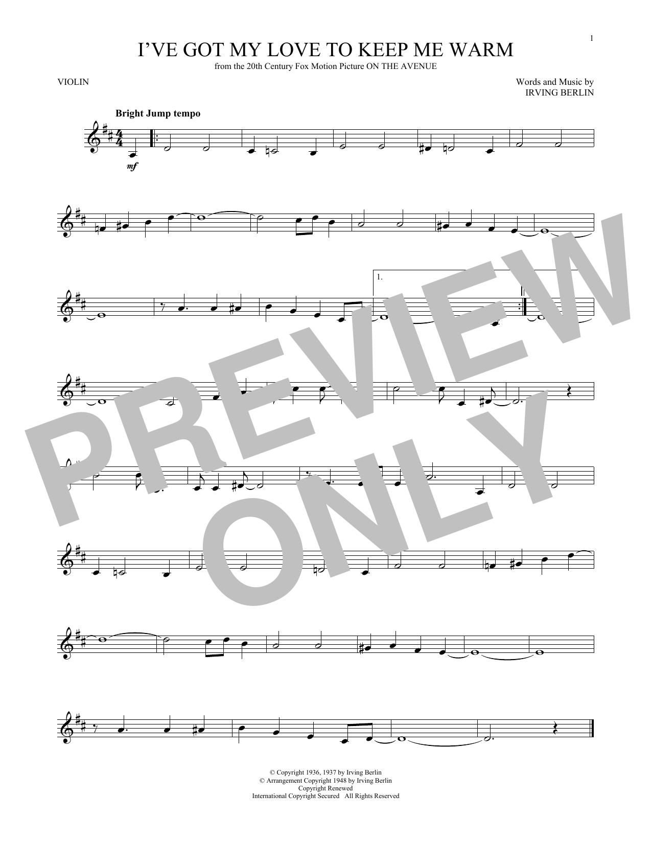 Violin sheet music at stantons sheet music benny goodman ive got my love to keep me warm hexwebz Choice Image