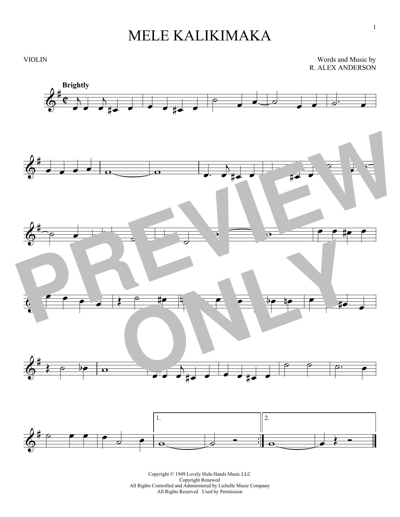 Partition autre Mele Kalikimaka de Bing Crosby - Violon