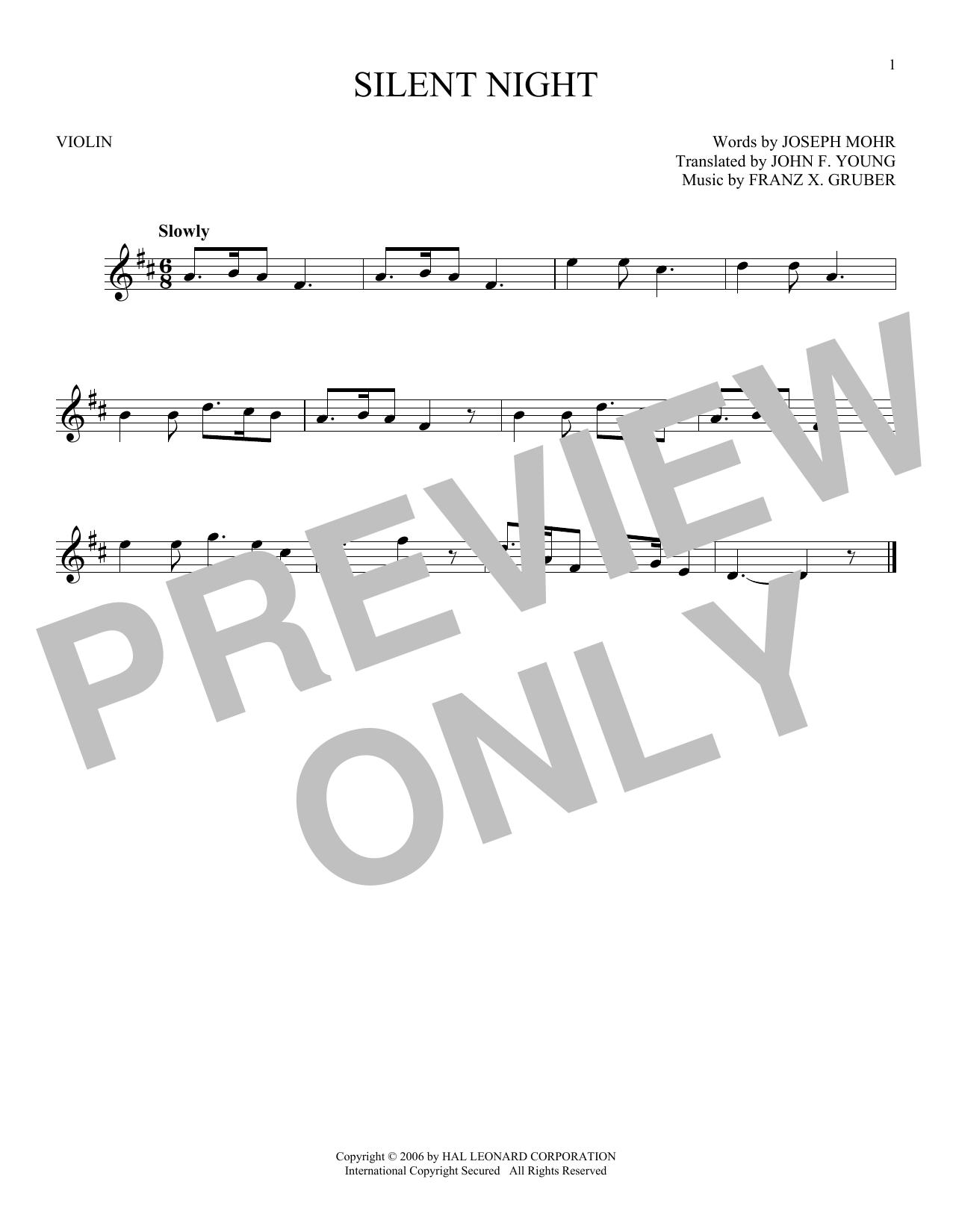 Partition autre Silent Night de Franz X. Gruber - Violon
