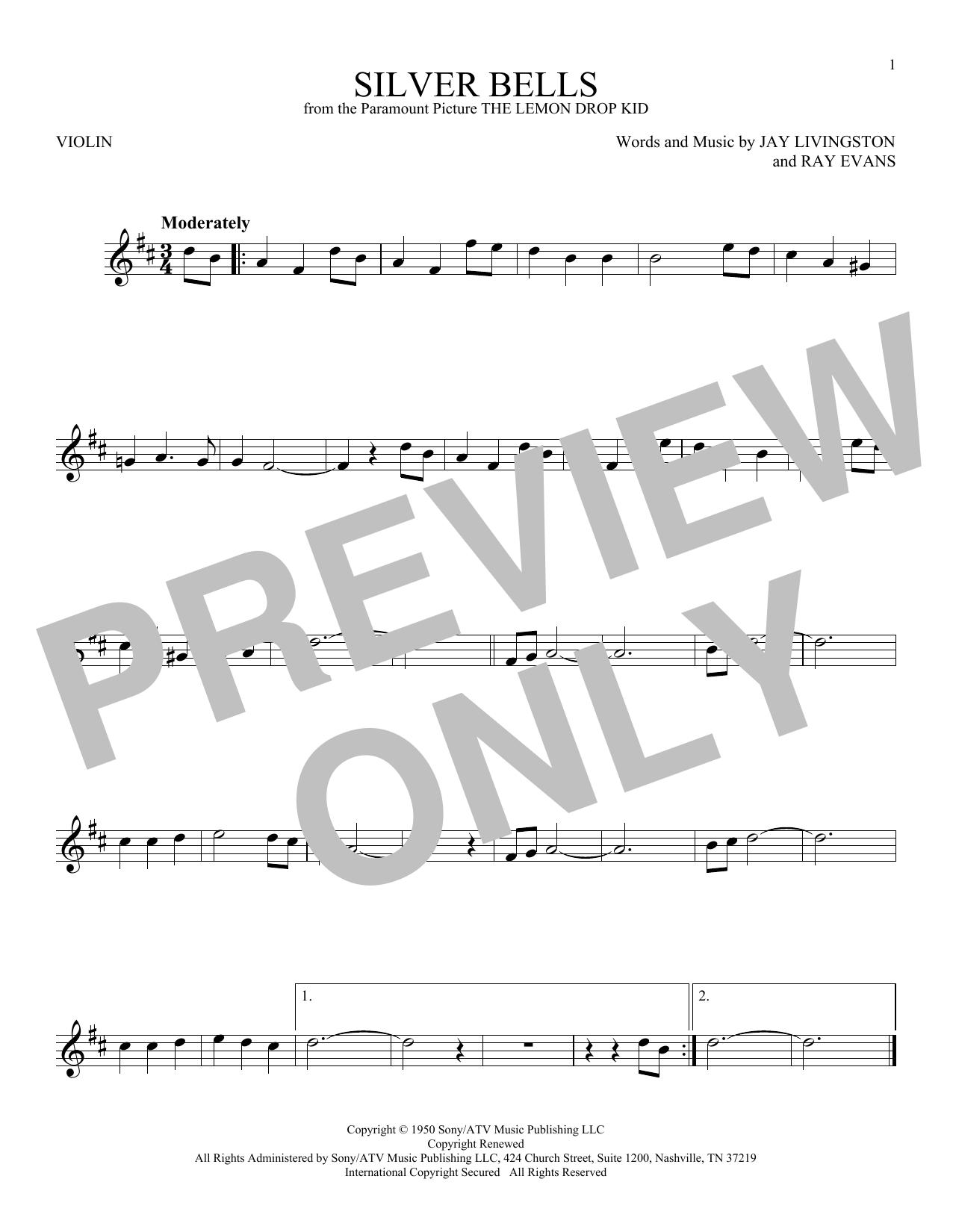 Partition autre Silver Bells de Jay Livingston - Violon