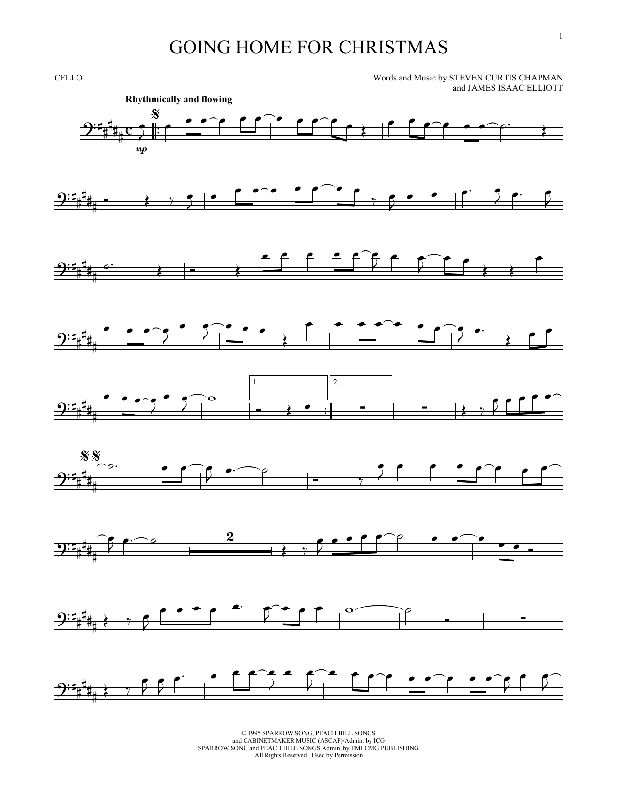 Partition autre Going Home For Christmas de Steven Curtis Chapman - Violoncelle