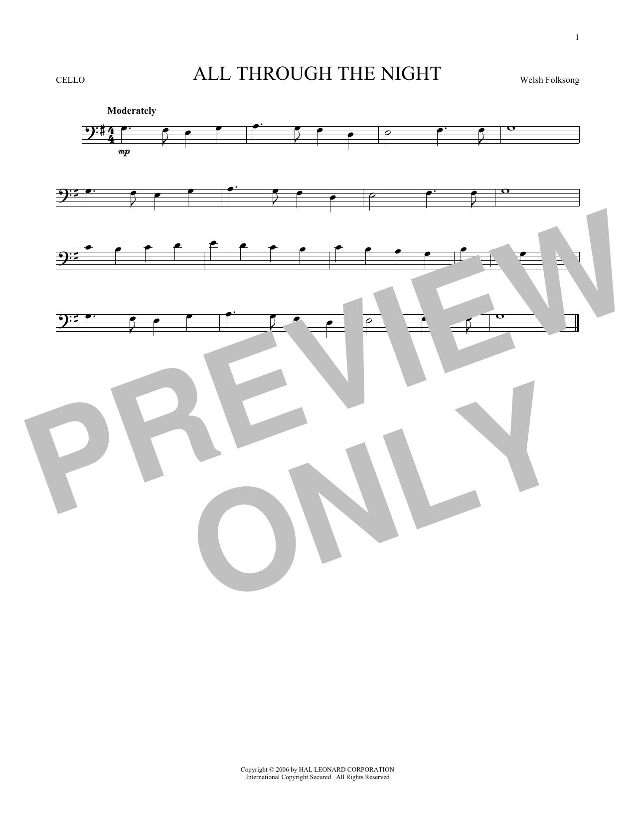 Partition autre All Through The Night de Welsh Folksong - Violoncelle