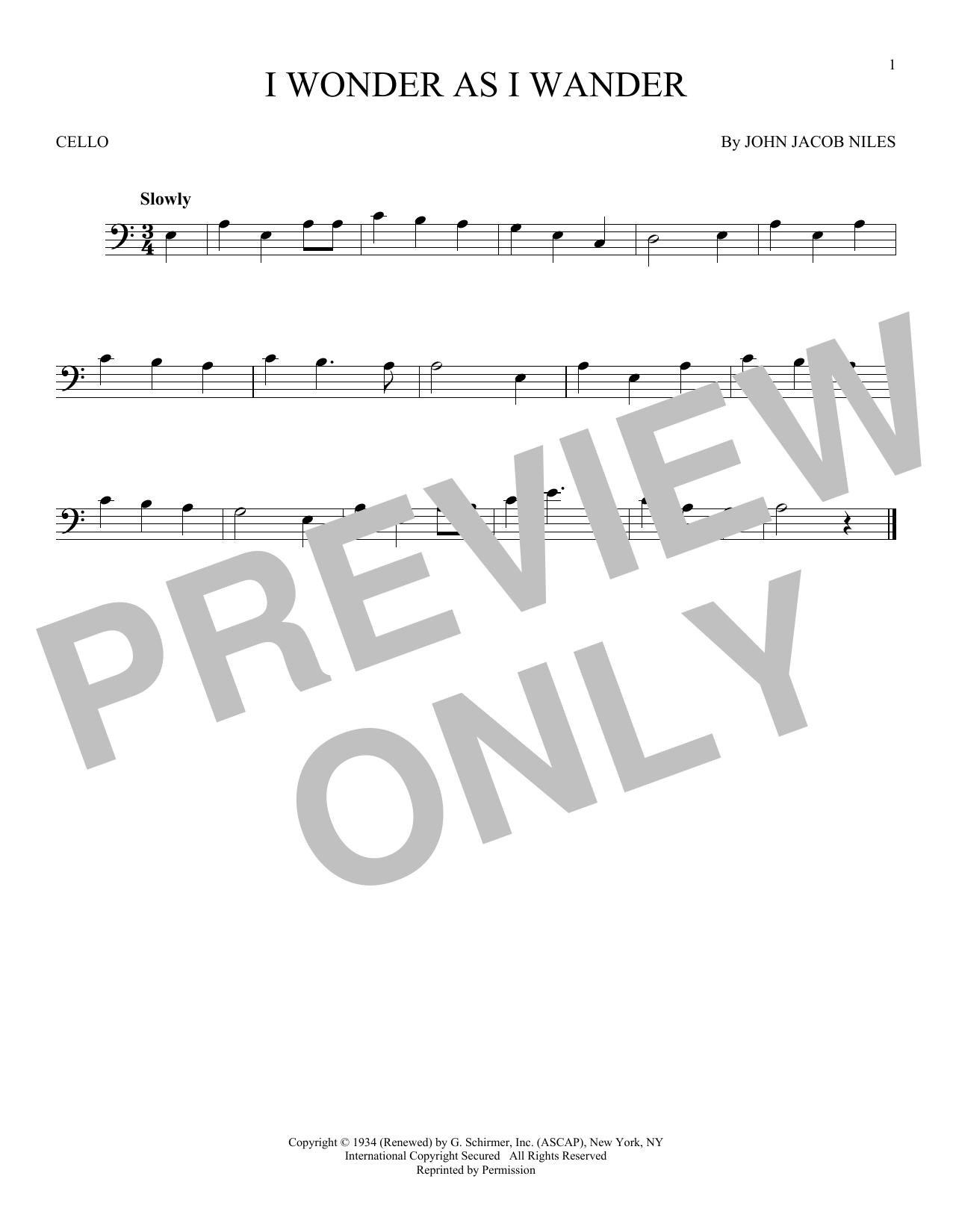 Partition autre I Wonder As I Wander de John Jacob Niles - Violoncelle