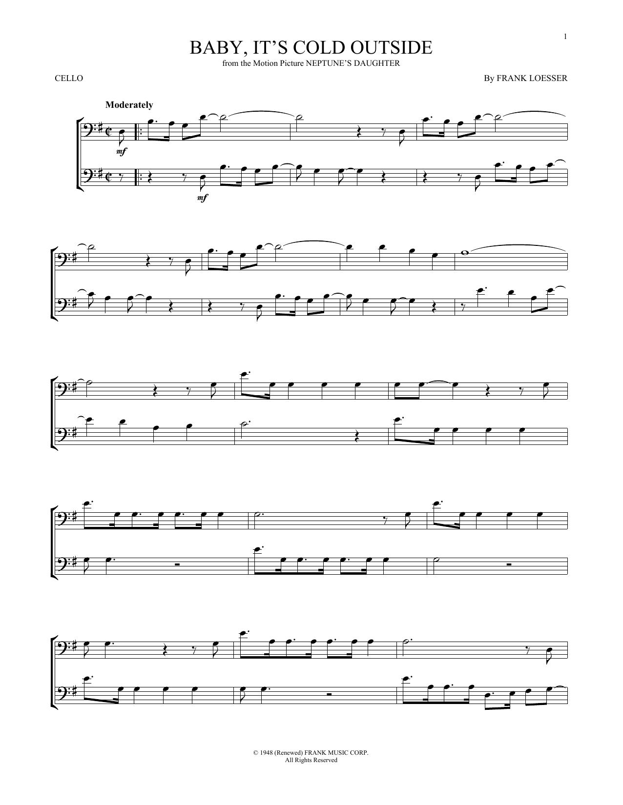 Partition autre Baby, It's Cold Outside de Frank Loesser - Violoncelle
