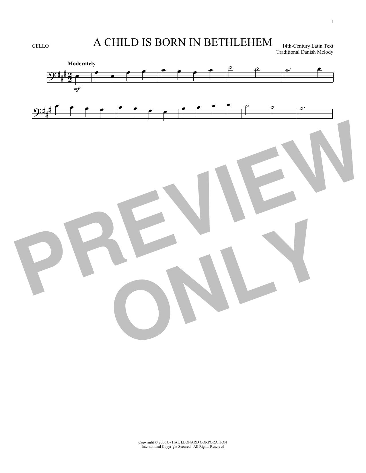 Partition autre A Child Is Born In Bethlehem de Traditional Danish Melody - Violoncelle
