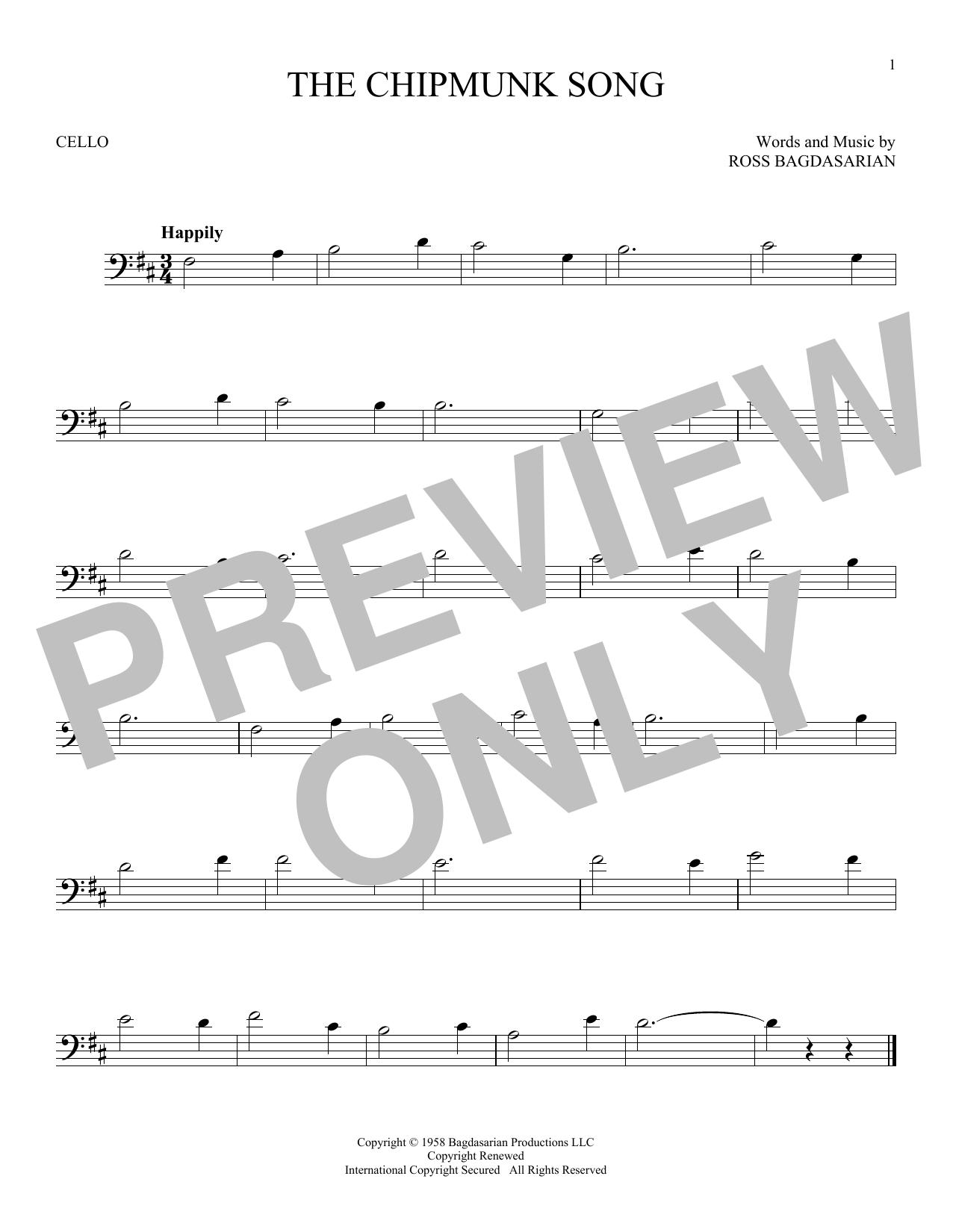 Partition autre The Chipmunk Song de Ross Bagdasarian - Violoncelle