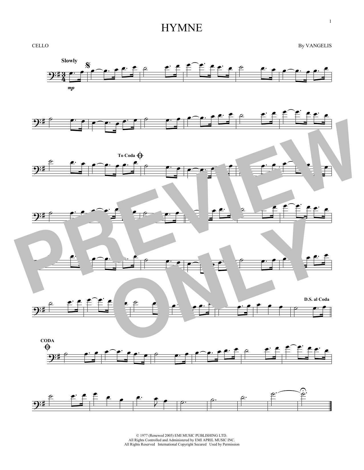 Partition autre Hymne de Vangelis - Violoncelle