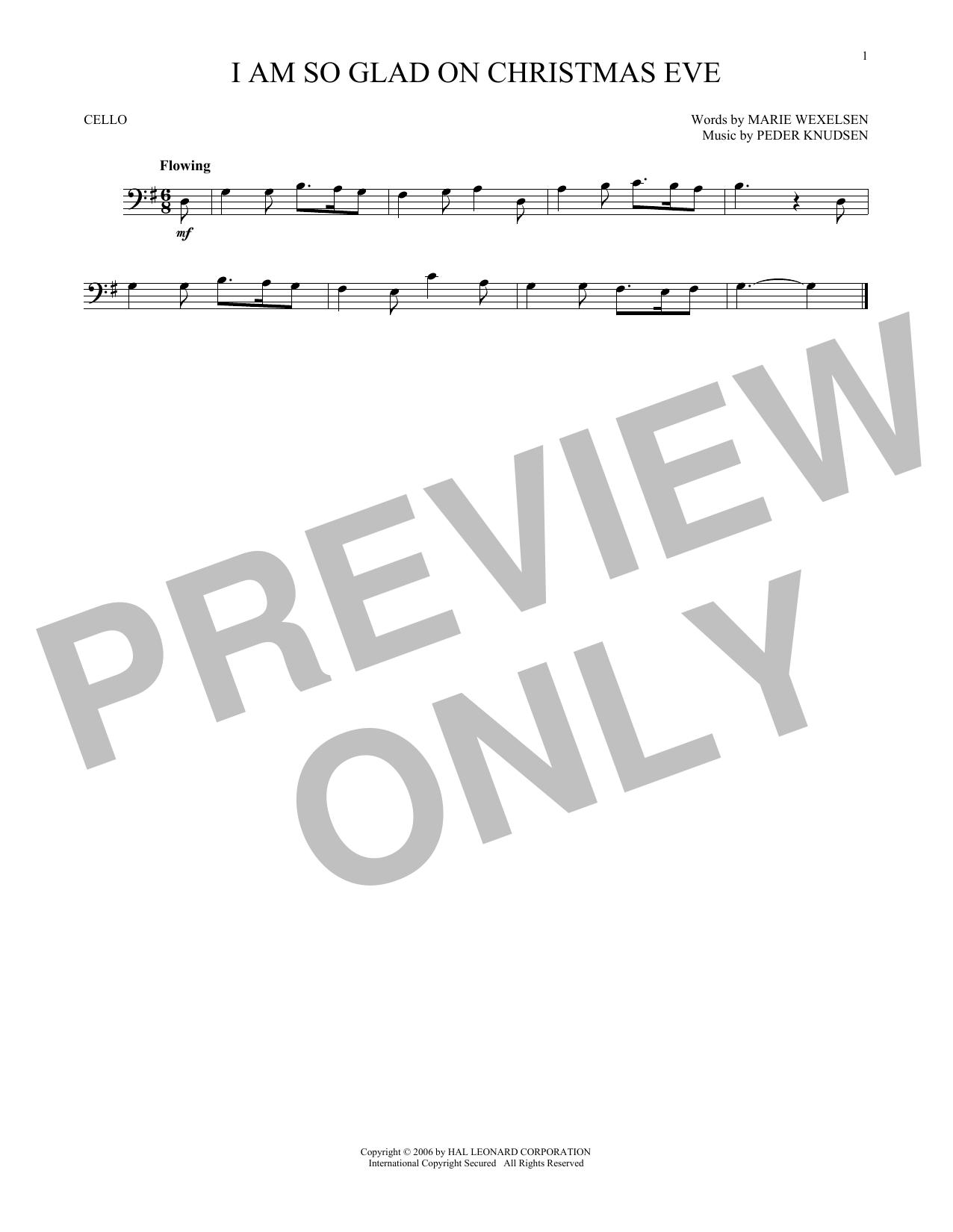 Partition autre I Am So Glad On Christmas Eve de Peder Knudsen - Violoncelle