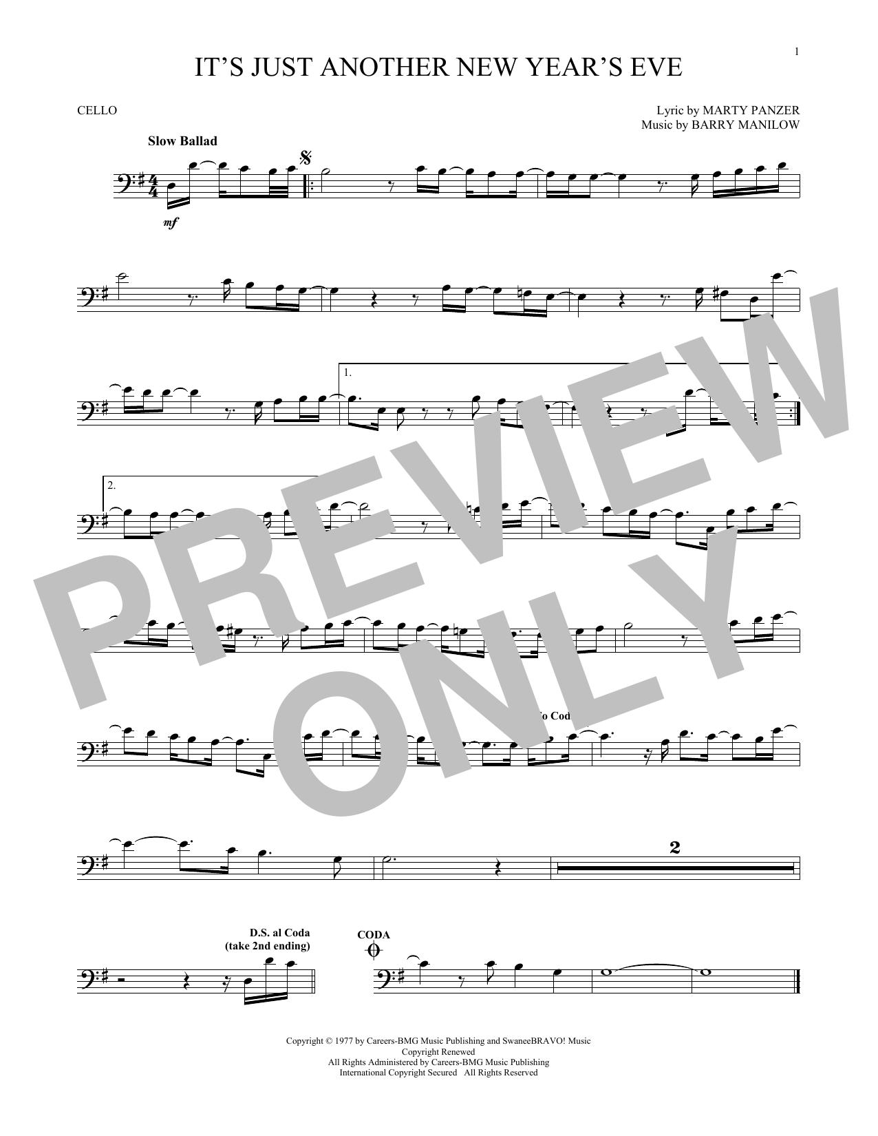 Partition autre It's Just Another New Year's Eve de Barry Manilow - Violoncelle