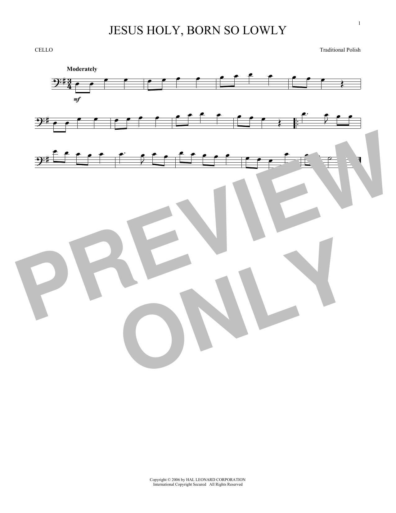 Partition autre Jesus Holy, Born So Lowly de Traditional Carol - Violoncelle