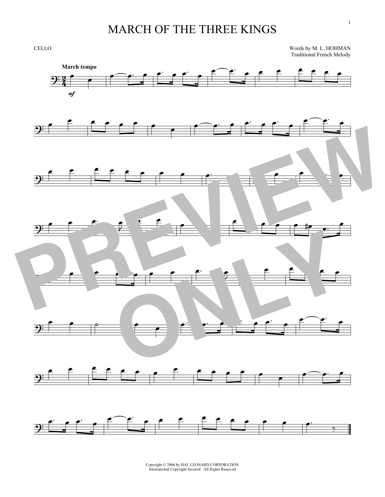 Partition autre March Of The Three Kings de Traditional - Violoncelle
